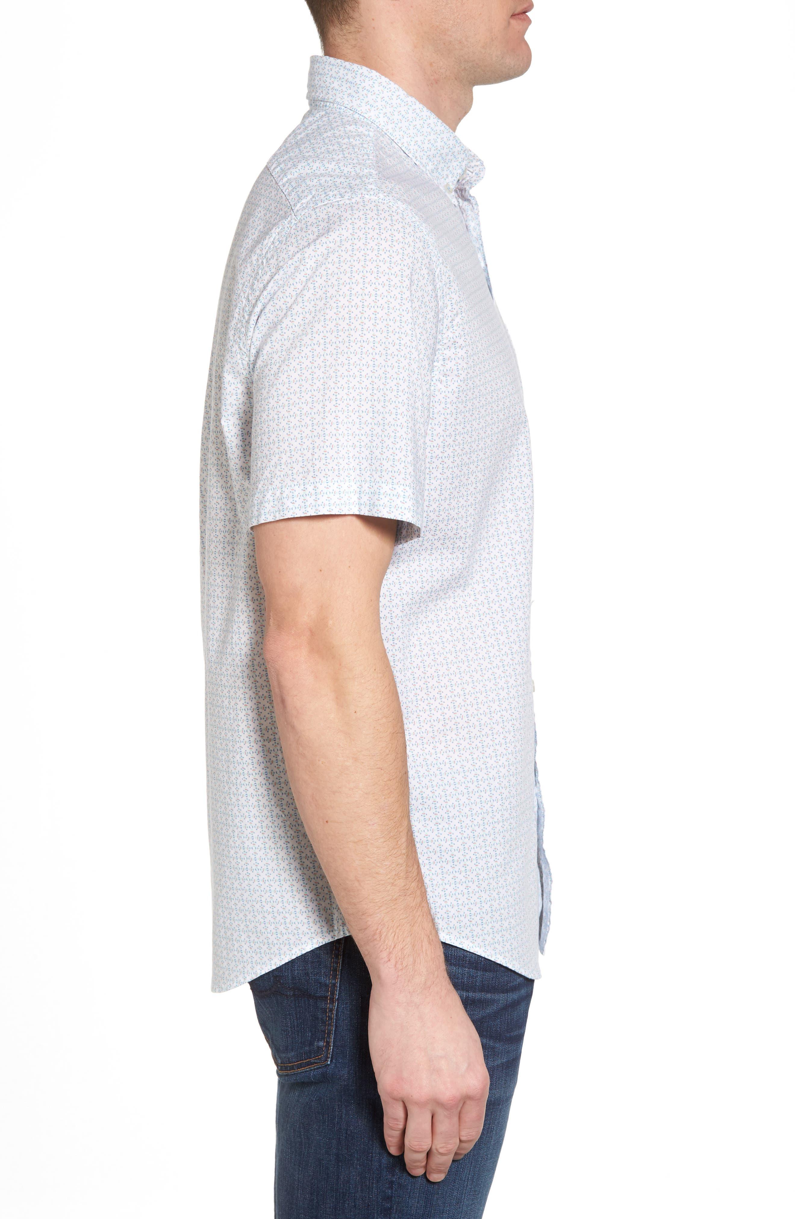 Fish Check Tucker Slim Fit Sport Shirt,                             Alternate thumbnail 3, color,                             100