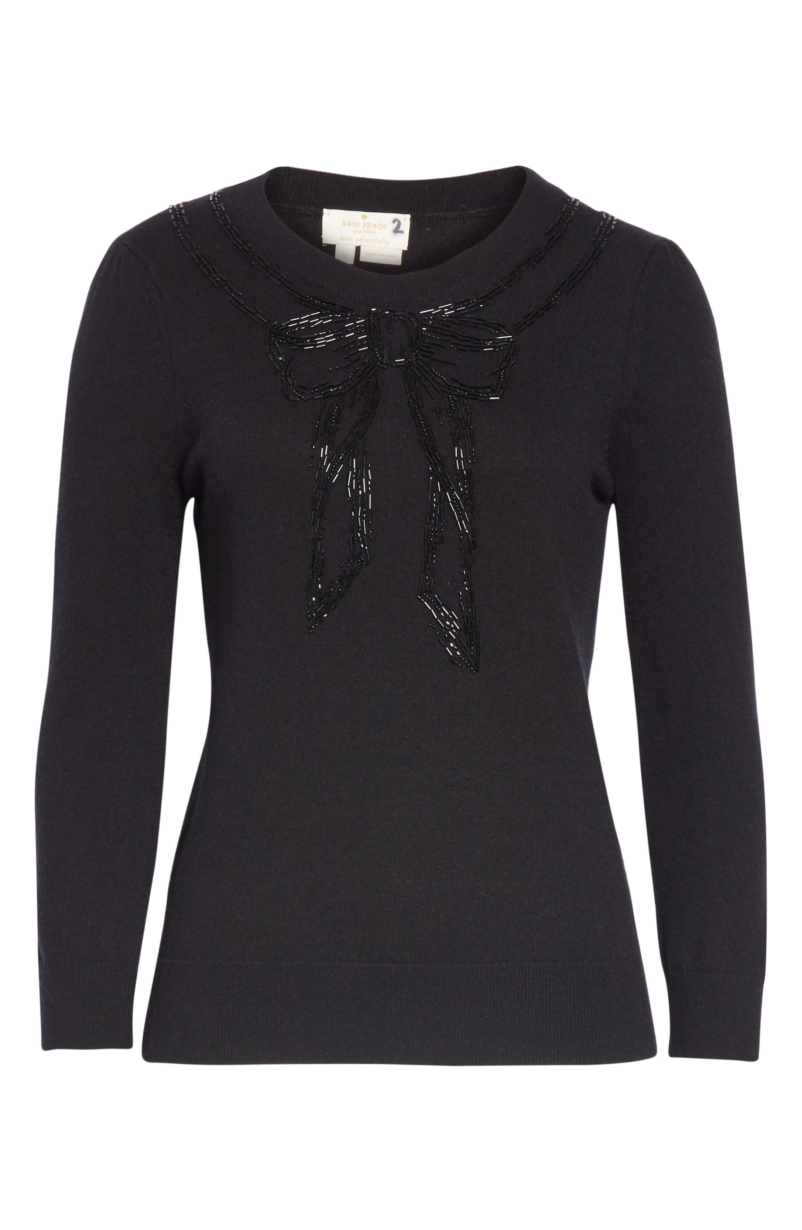 bow embellished sweater,                             Alternate thumbnail 6, color,                             BLACK