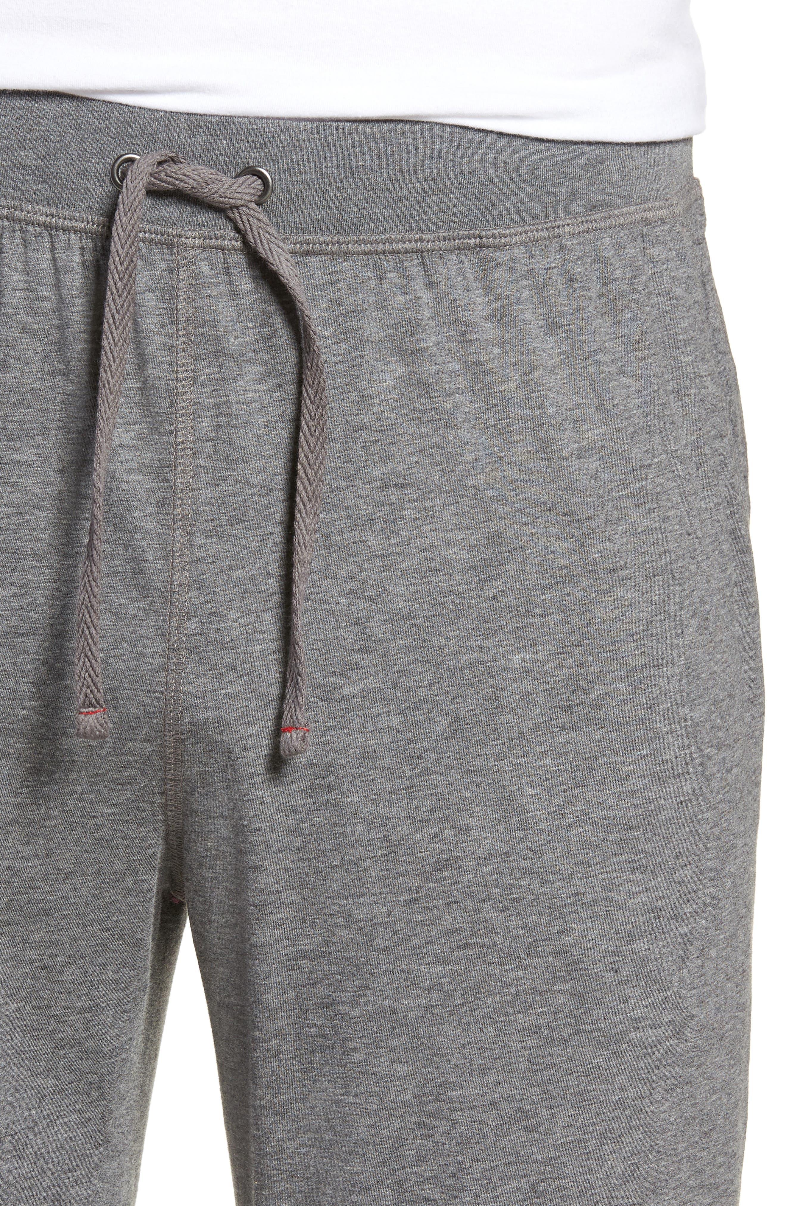 Peruvian Pima Lightweight Cotton Lounge Pants,                             Alternate thumbnail 4, color,                             CHARCOAL HEATHER