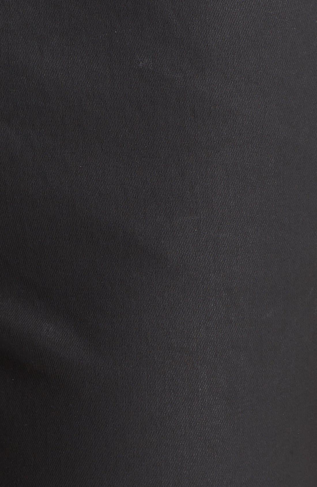 Waxed Denim Slim Leg Jeans,                             Alternate thumbnail 4, color,                             BLACK