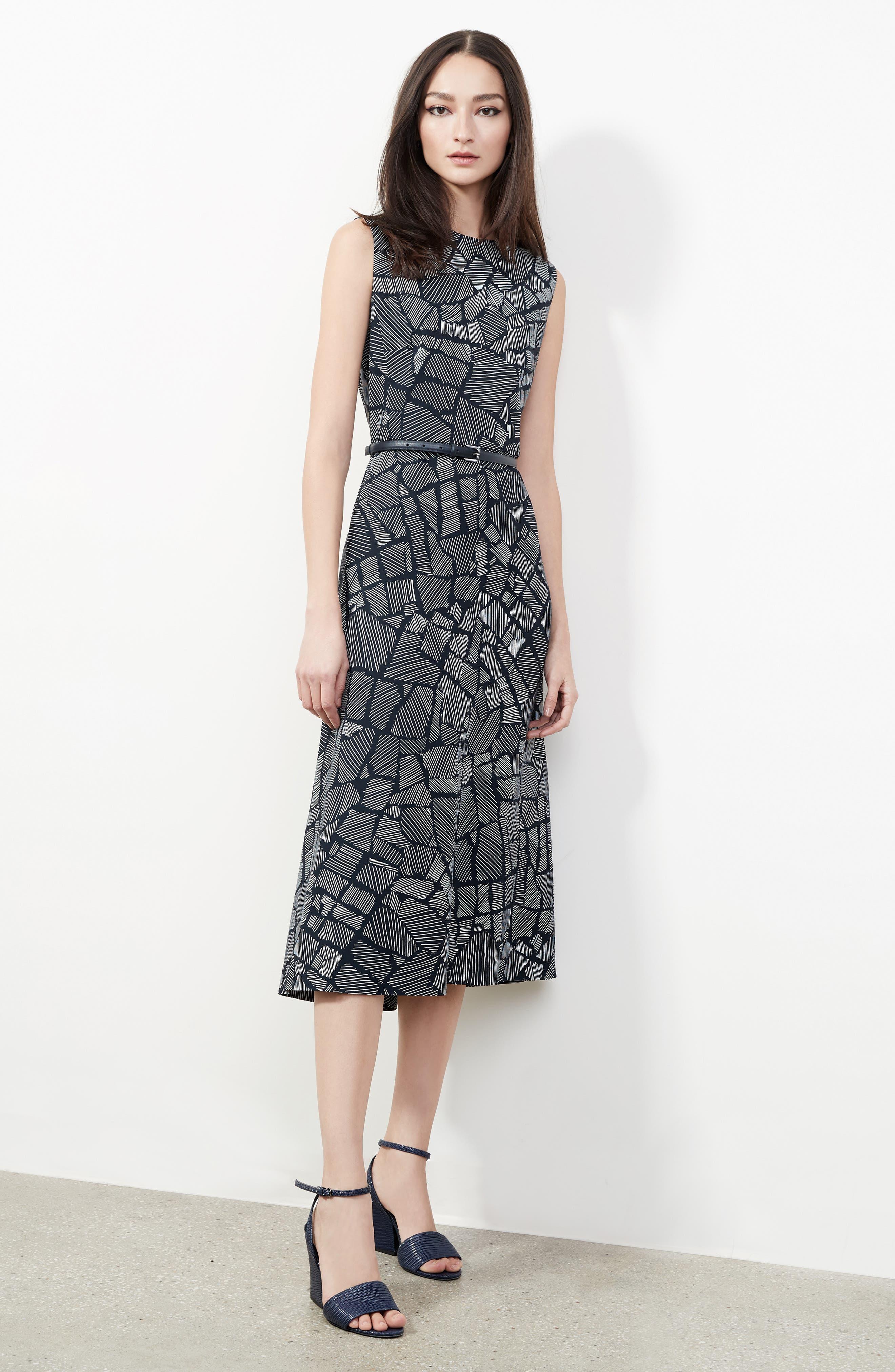 Jasmine Print Midi Dress,                             Alternate thumbnail 5, color,                             411