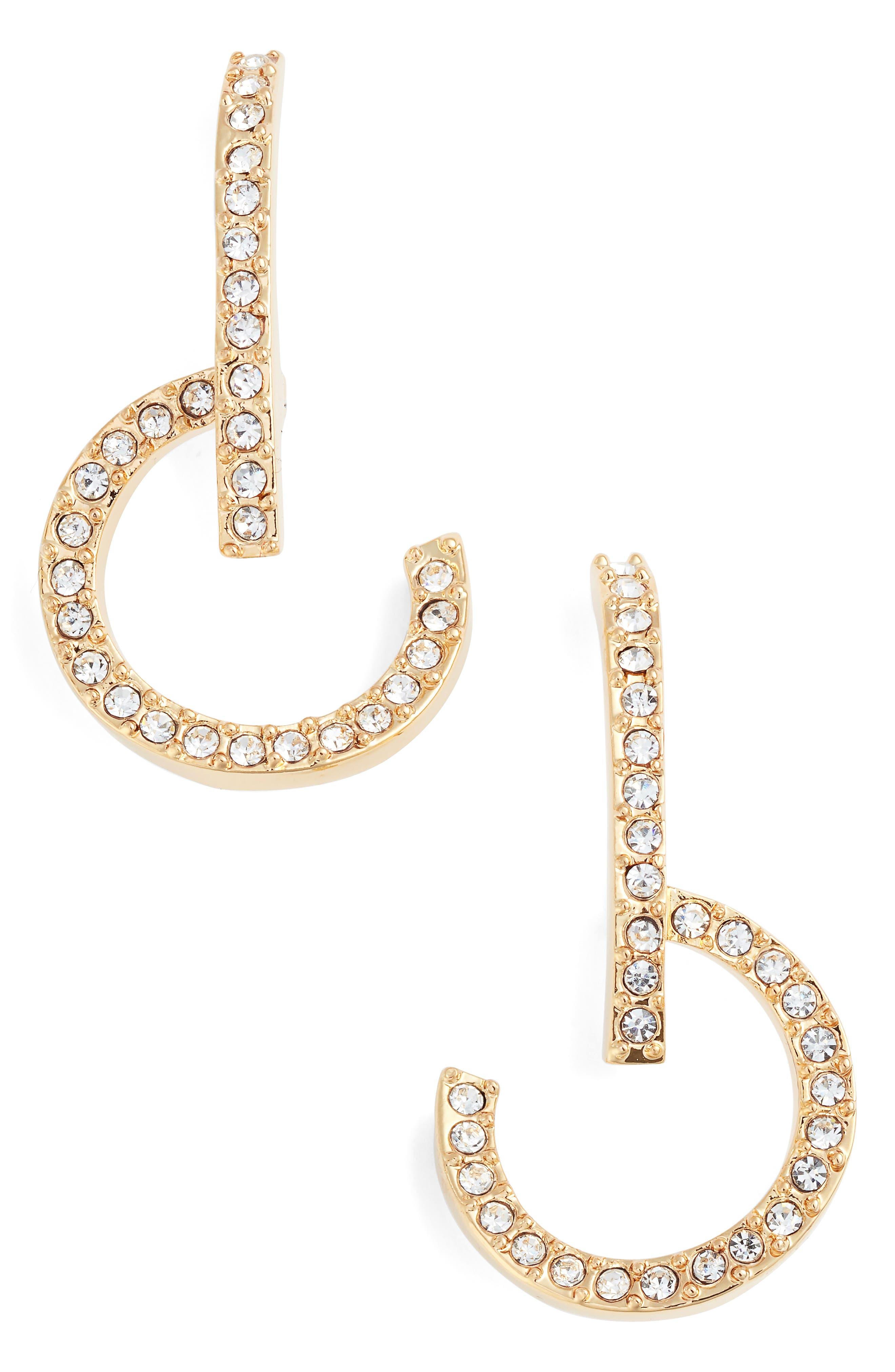 Lobe and Hoop Earrings,                         Main,                         color, GOLD