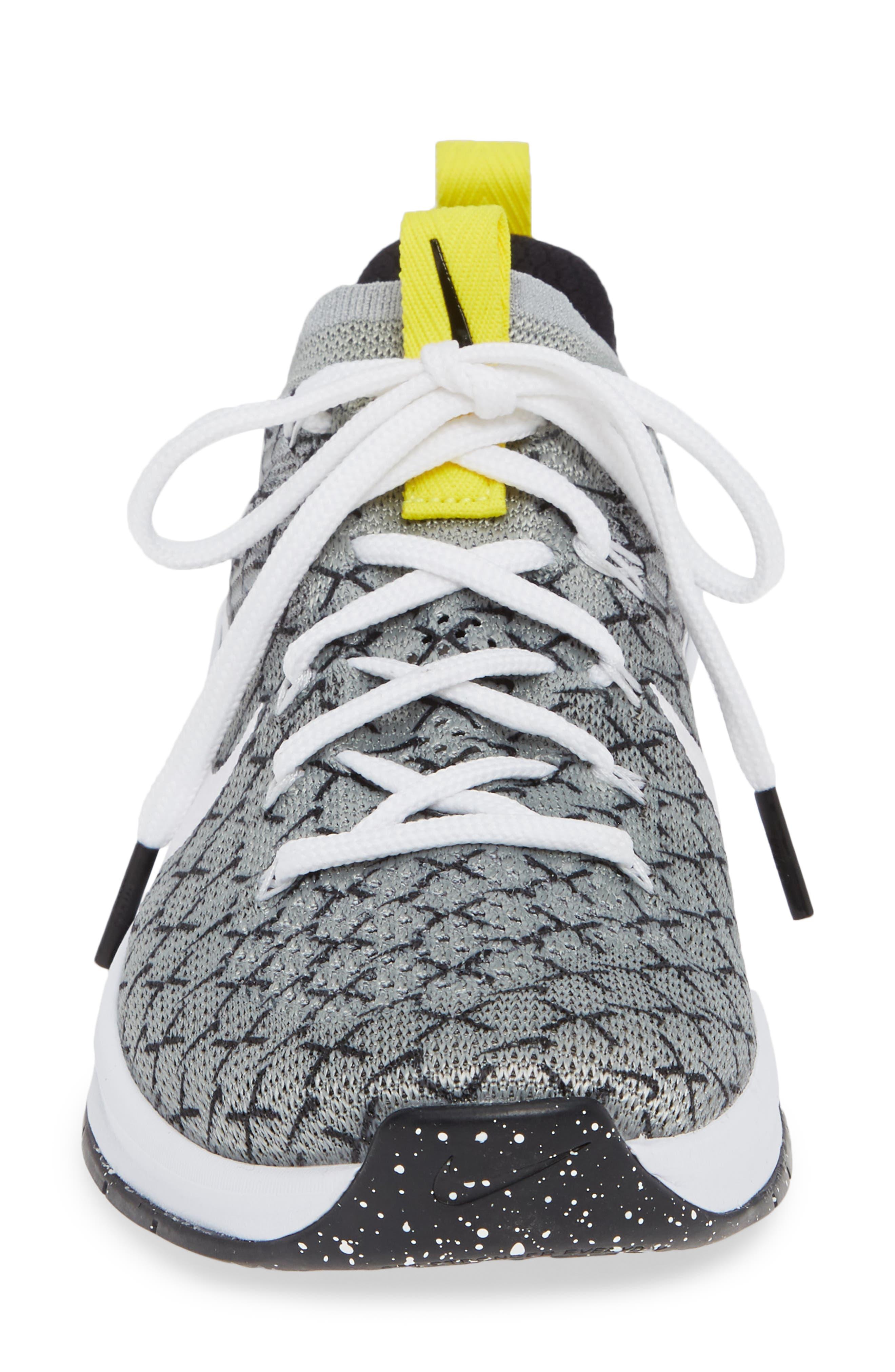 Metcon DSX Flyknit 2 Training Shoe,                             Alternate thumbnail 4, color,                             BLACK/ WHITE/ DYNAMIC YELLOW