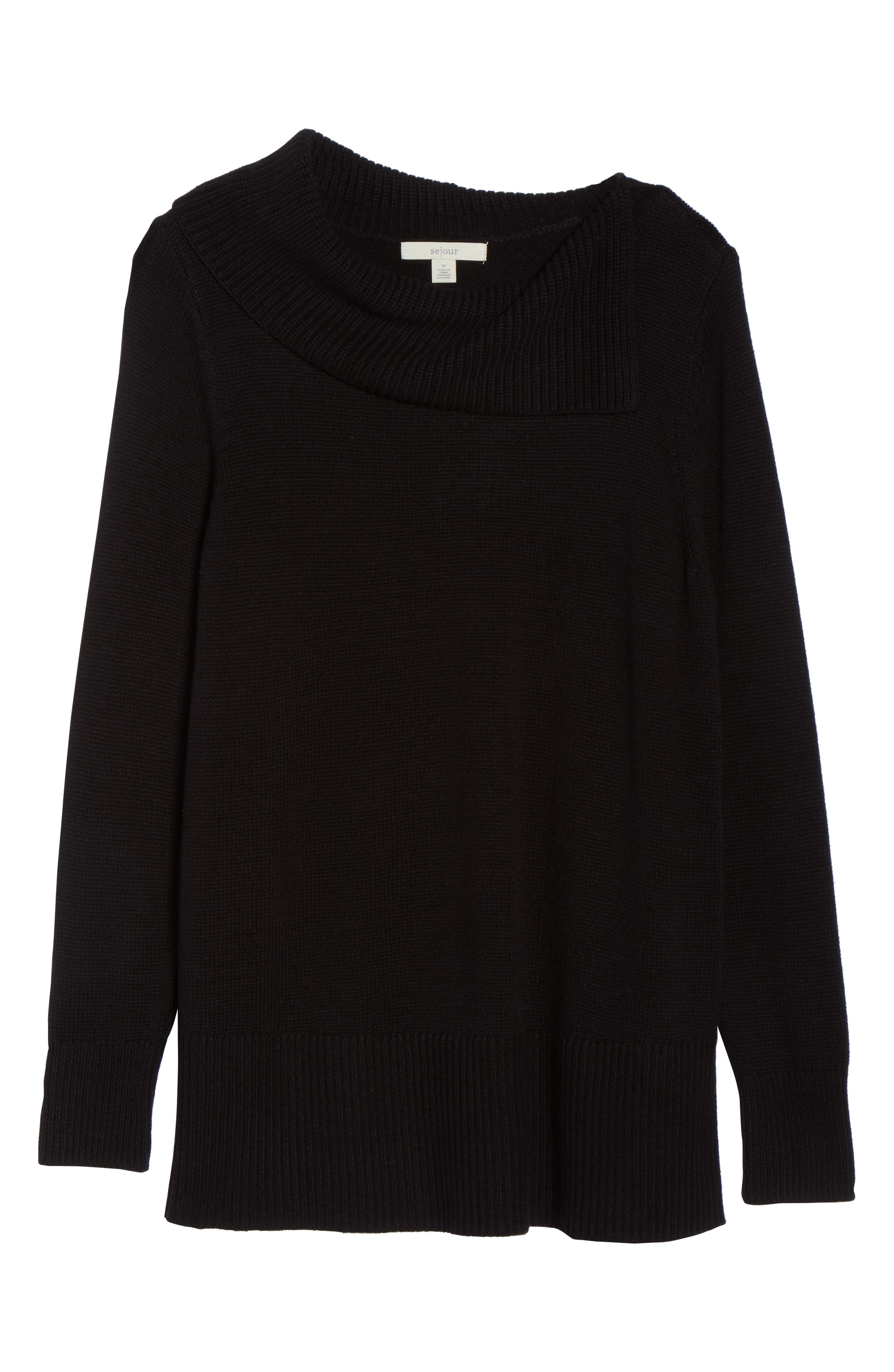 Split Neck Sweater,                             Alternate thumbnail 6, color,                             BLACK