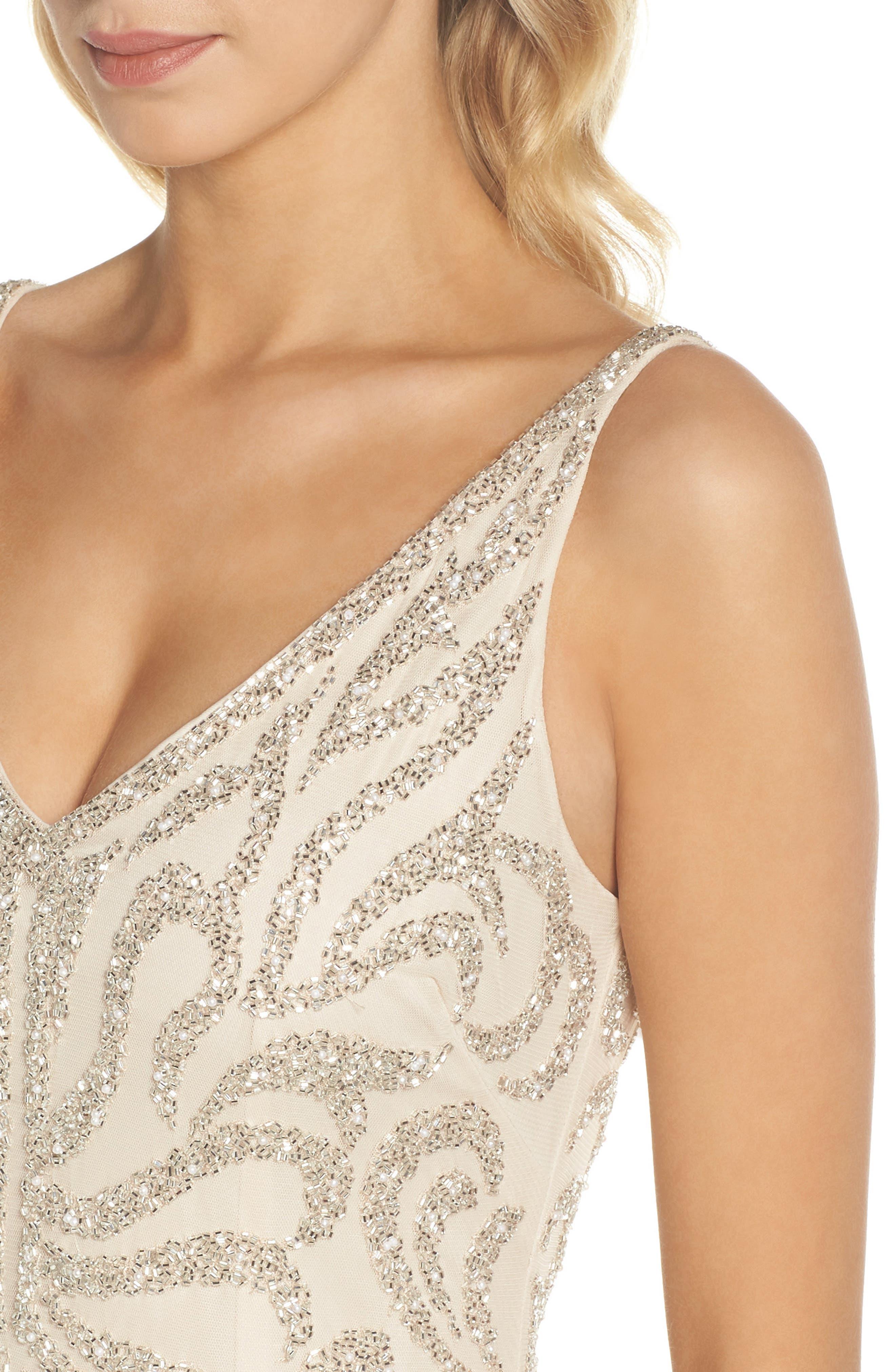 Beaded V-Neck Gown,                             Alternate thumbnail 4, color,                             250