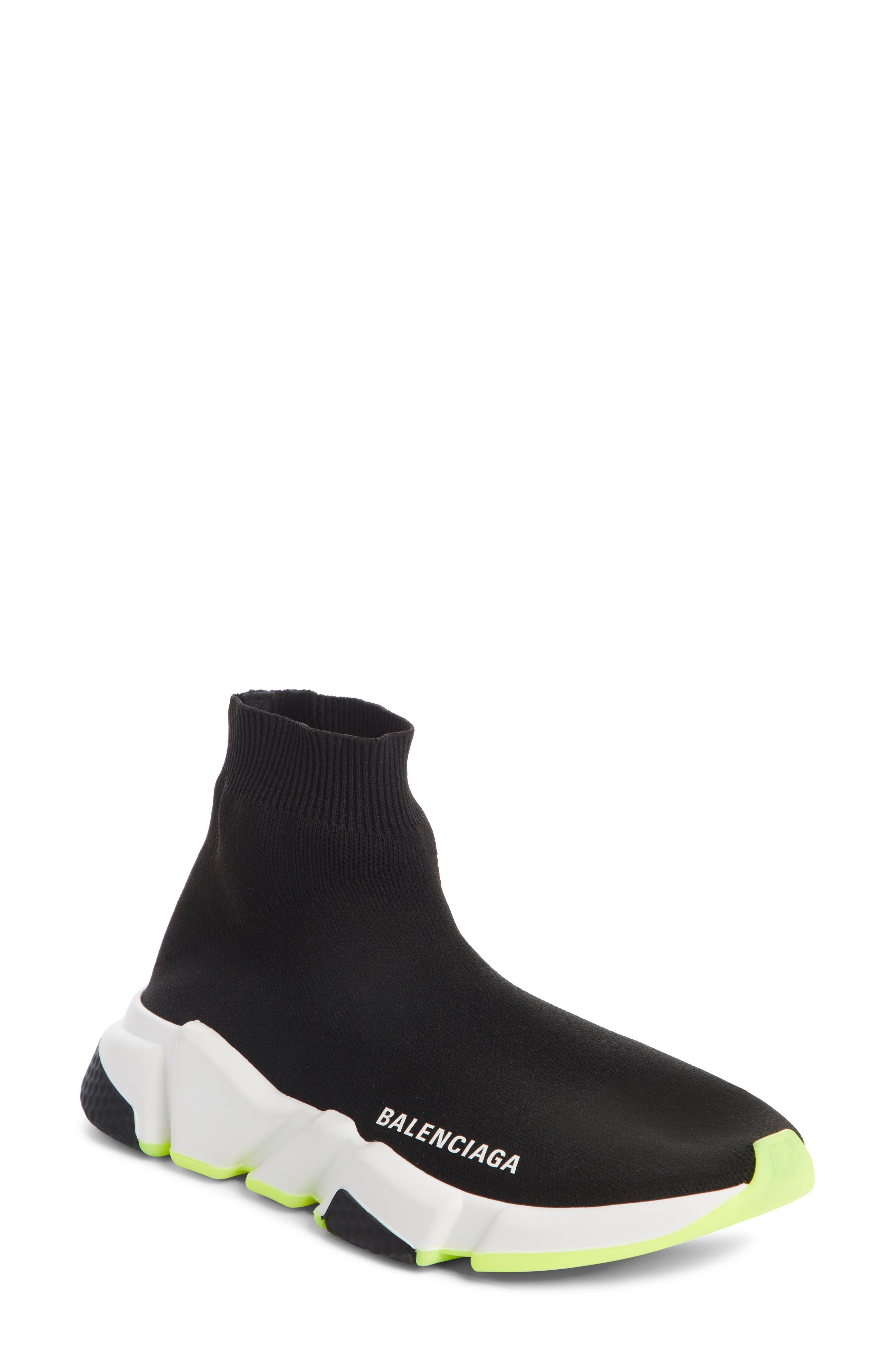 Speed Knit Sneaker in Black/ Neon