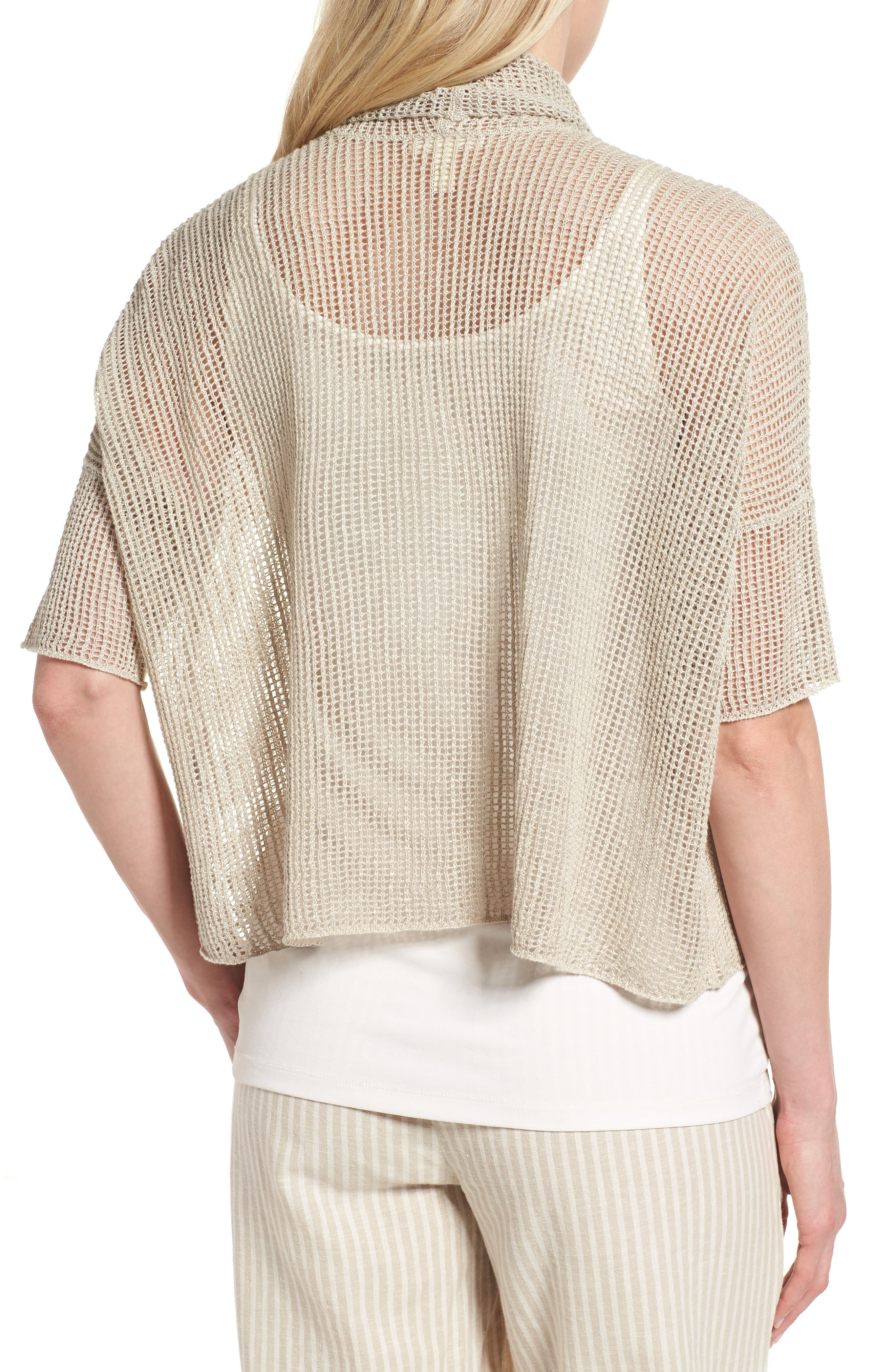 Boxy Organic Linen Cardigan,                             Alternate thumbnail 8, color,