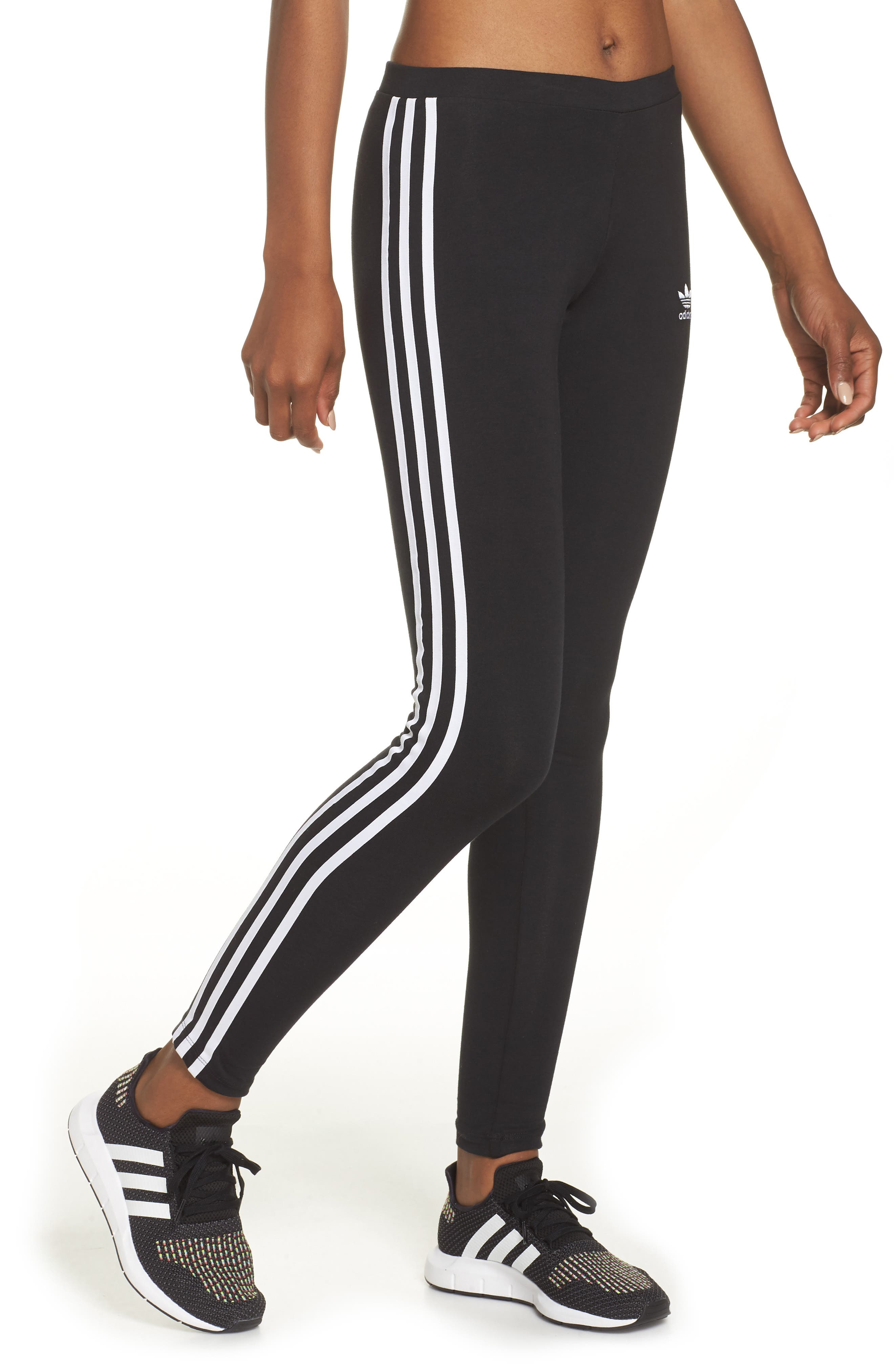 3-Stripes Tights,                         Main,                         color, BLACK