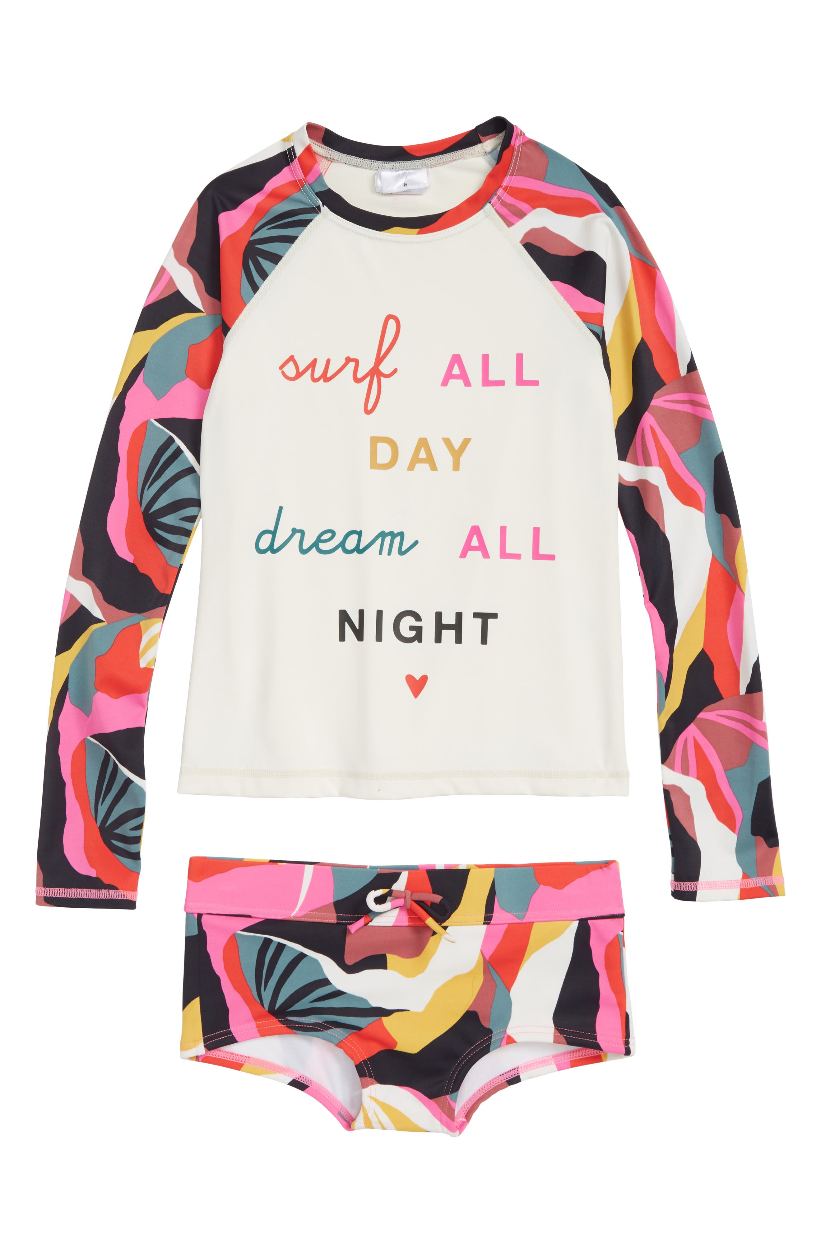 Dream Time Two-Piece Rashguard Swimsuit,                         Main,                         color, PINK MULTI