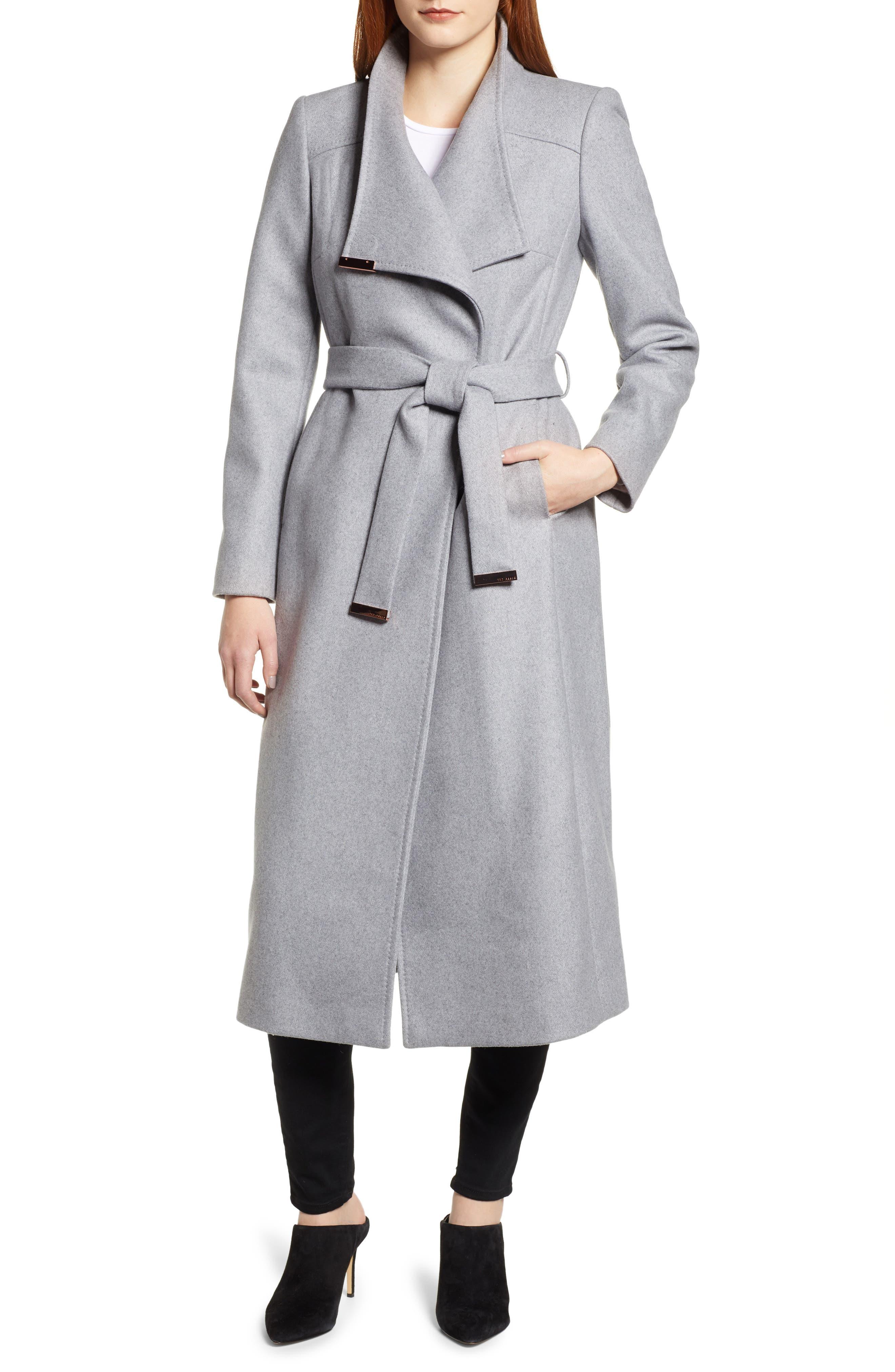 Ted Baker Londer Midi Wool Wrap Coat,                         Main,                         color, GREY