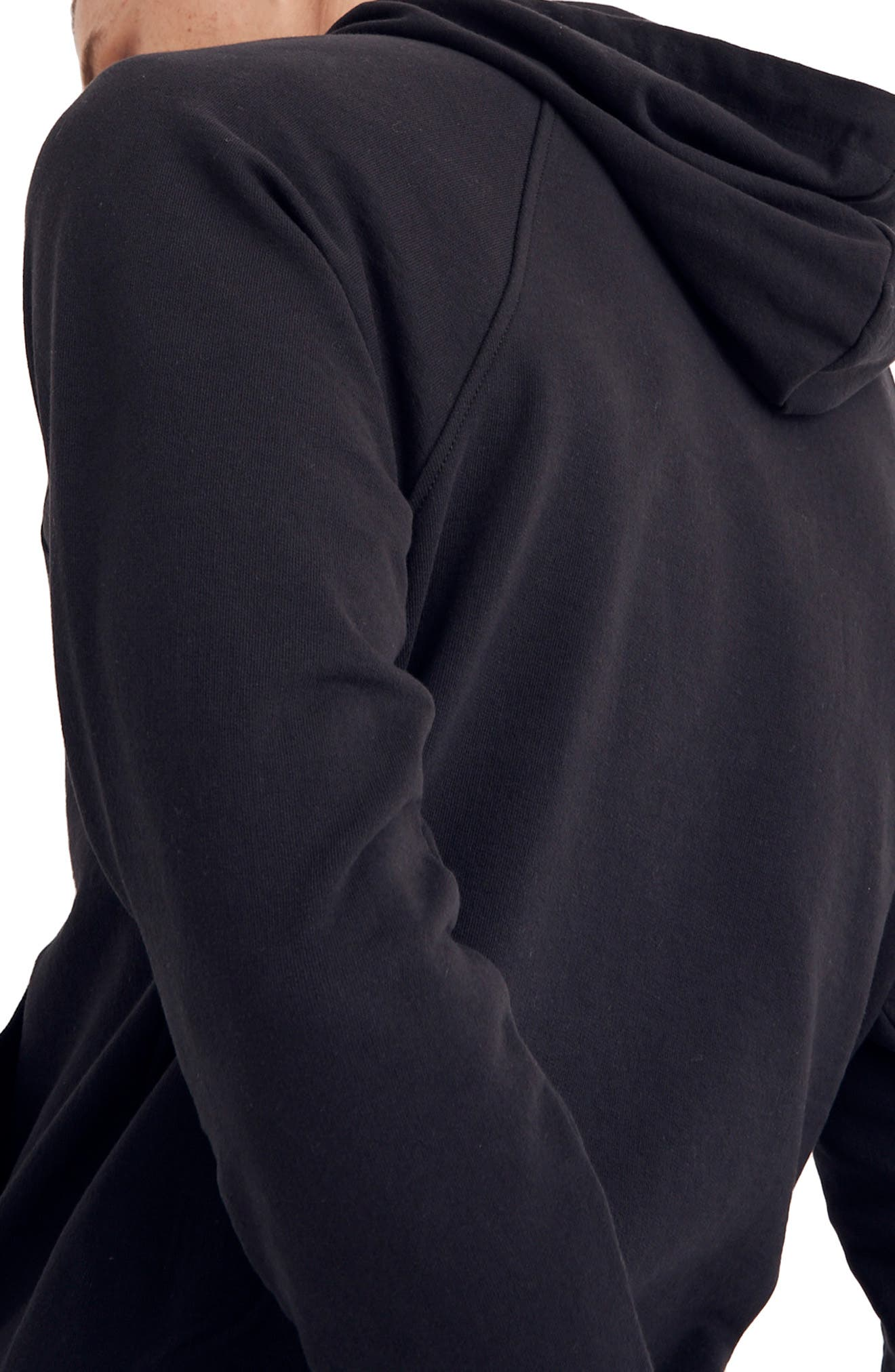 Cotton Hoodie,                             Alternate thumbnail 2, color,                             BLACK