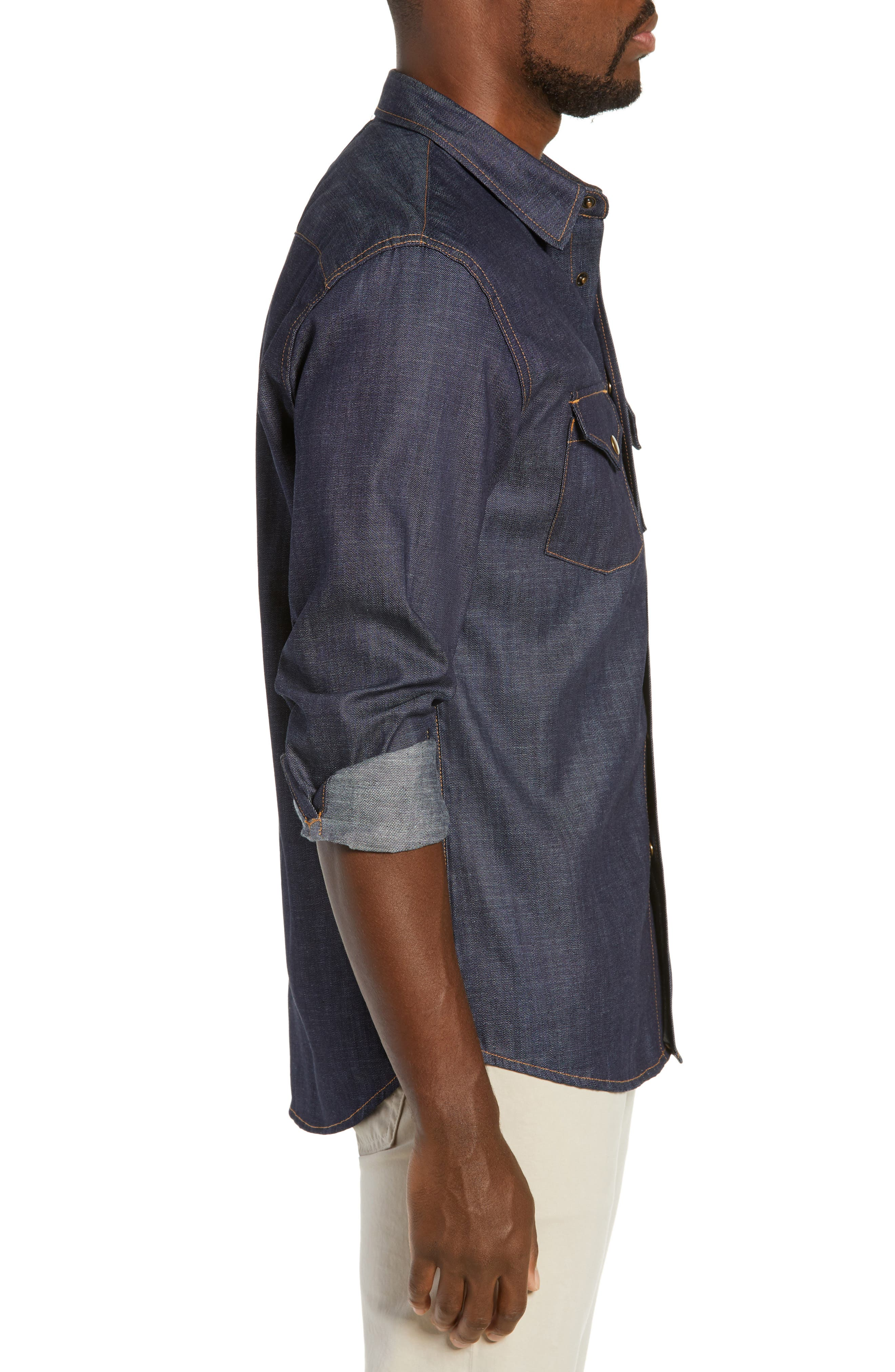 Distressed Denim Western Shirt,                             Alternate thumbnail 3, color,                             DRY