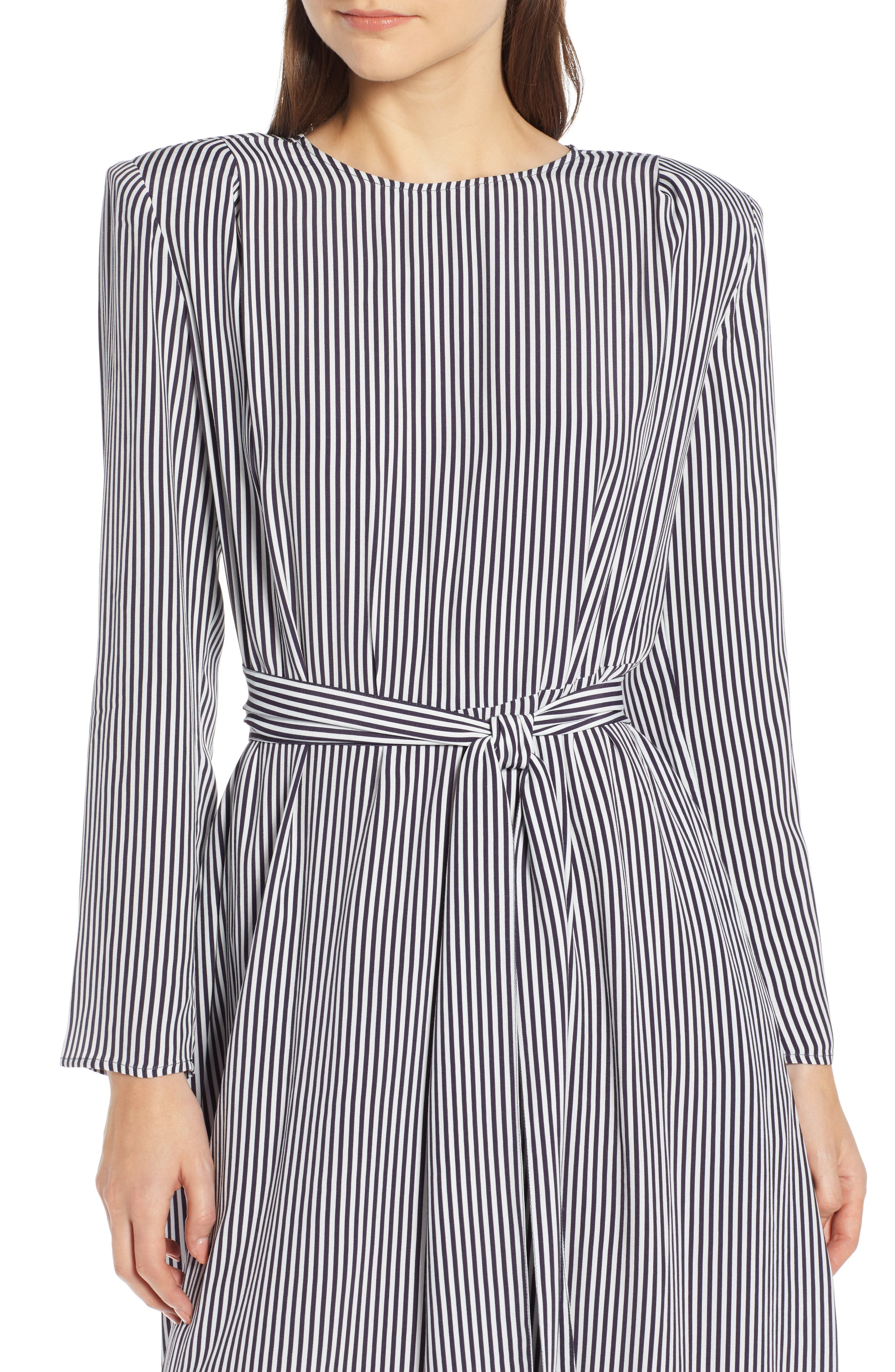 Belted Midi Dress,                             Alternate thumbnail 4, color,                             NAVY NIGHT TWO STRIPE