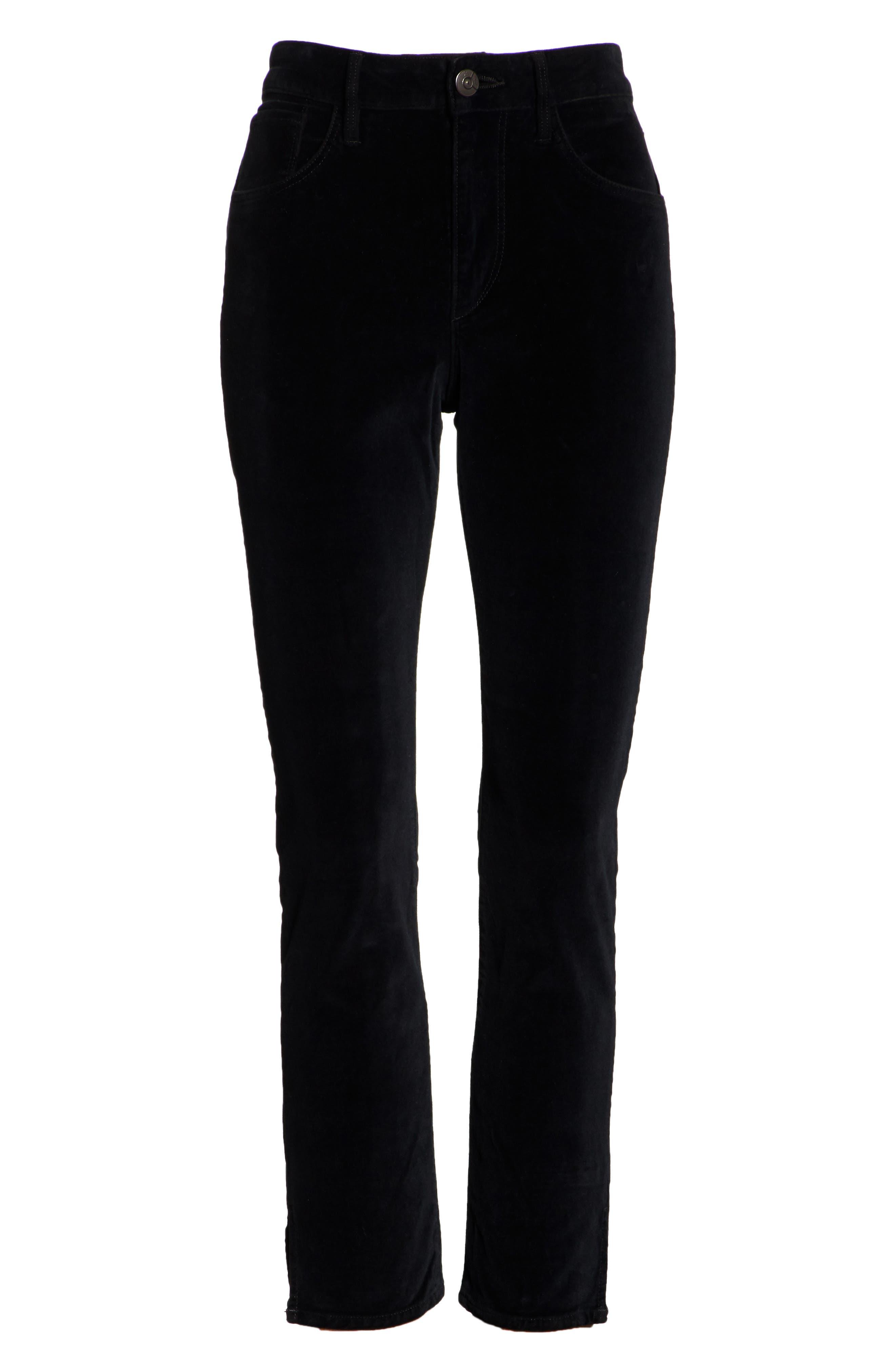 W3 Higher Ground Mini Split Ankle Velvet Jeans,                             Alternate thumbnail 7, color,                             EBONY EBONY