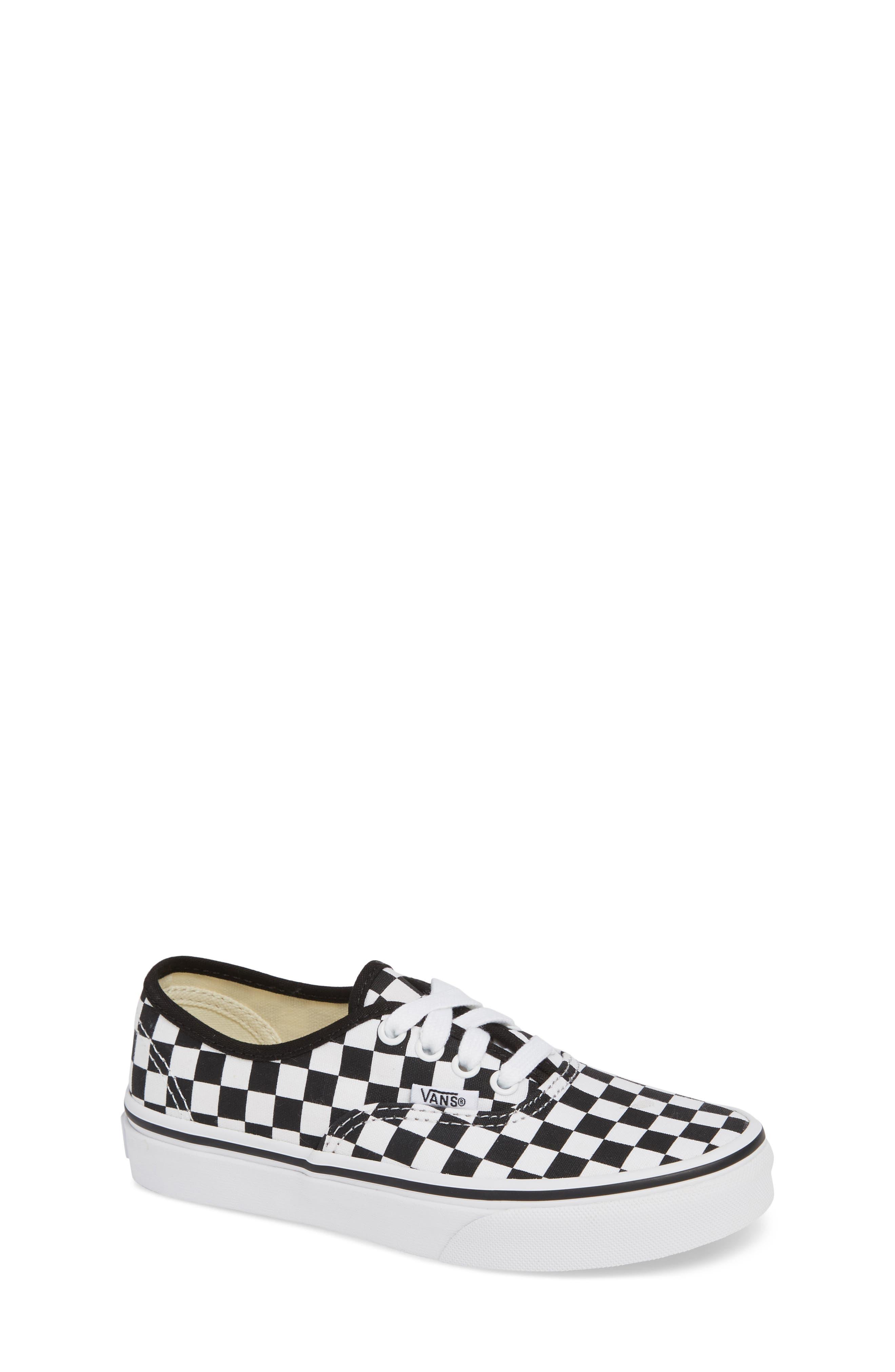 Authentic Elastic Lace Sneaker,                         Main,                         color, BLACK/ TRUE WHITE