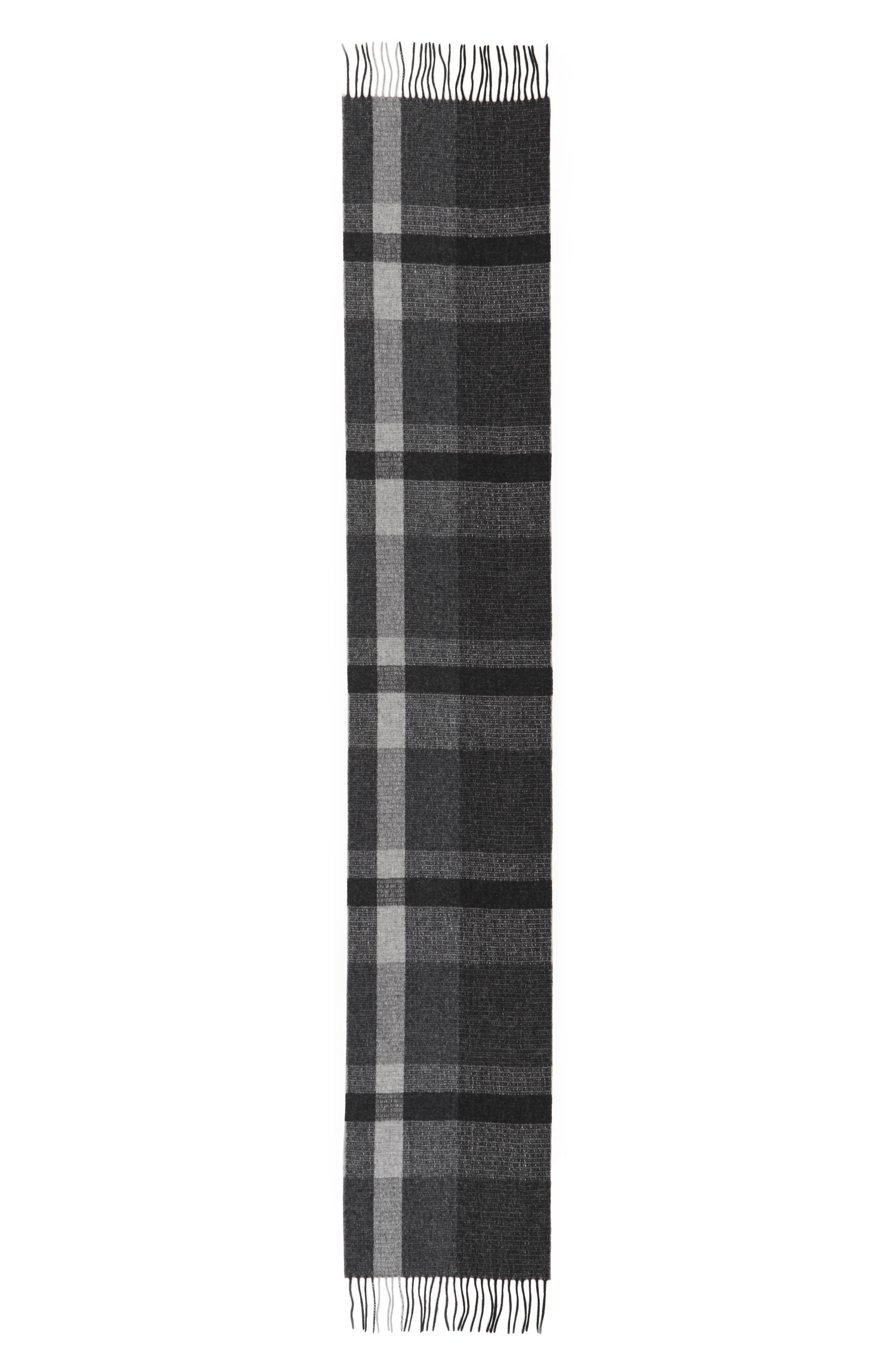 Plaid Wool Scarf,                             Alternate thumbnail 3, color,
