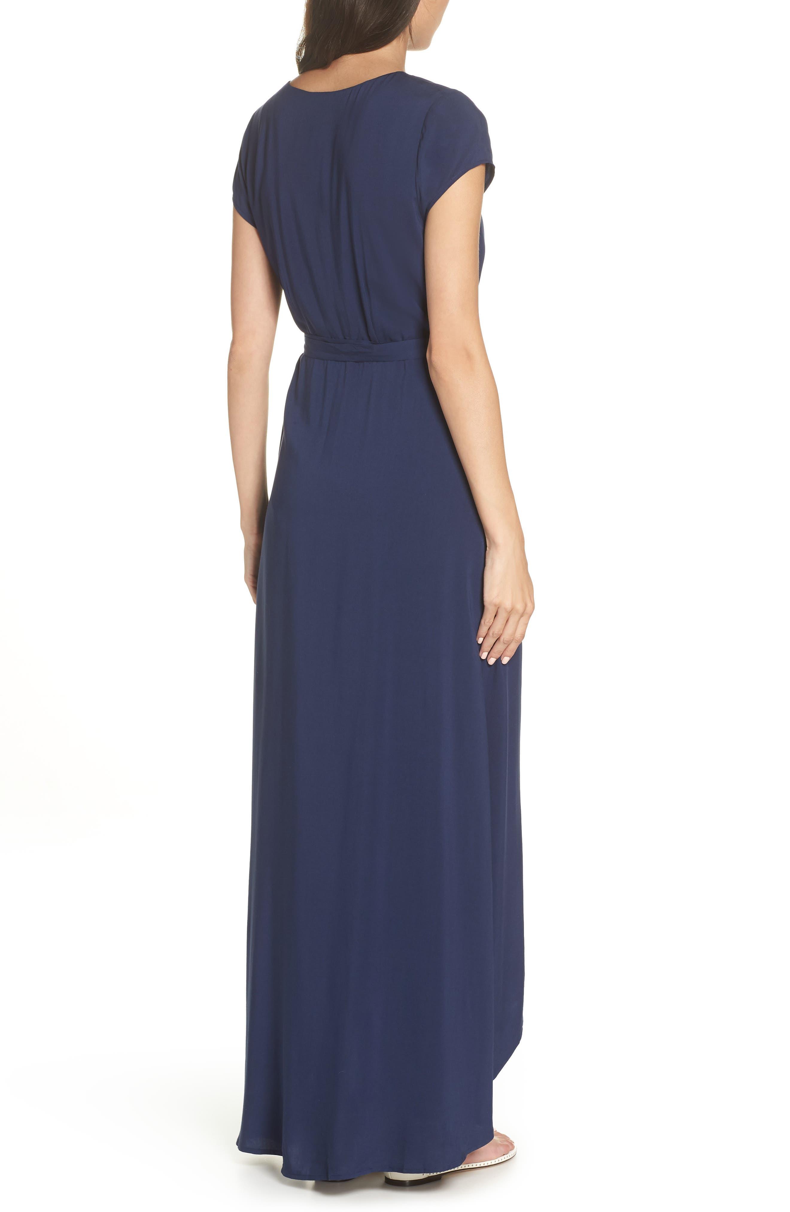Goa Cover-Up Maxi Wrap Dress,                             Alternate thumbnail 2, color,                             MIDNIGHT BLUE