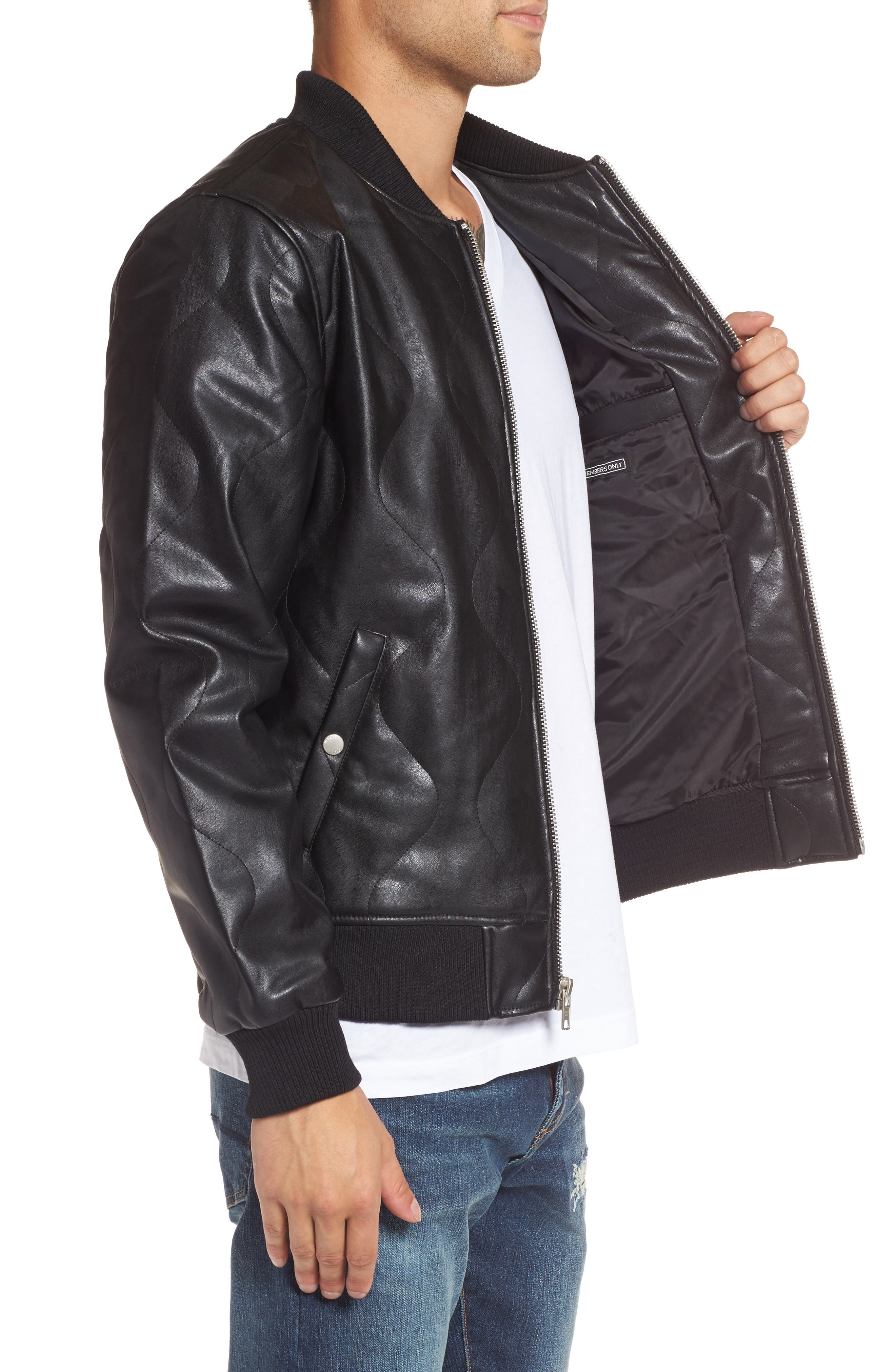 Quilted Faux Leather Bomber Jacket,                             Alternate thumbnail 3, color,                             001