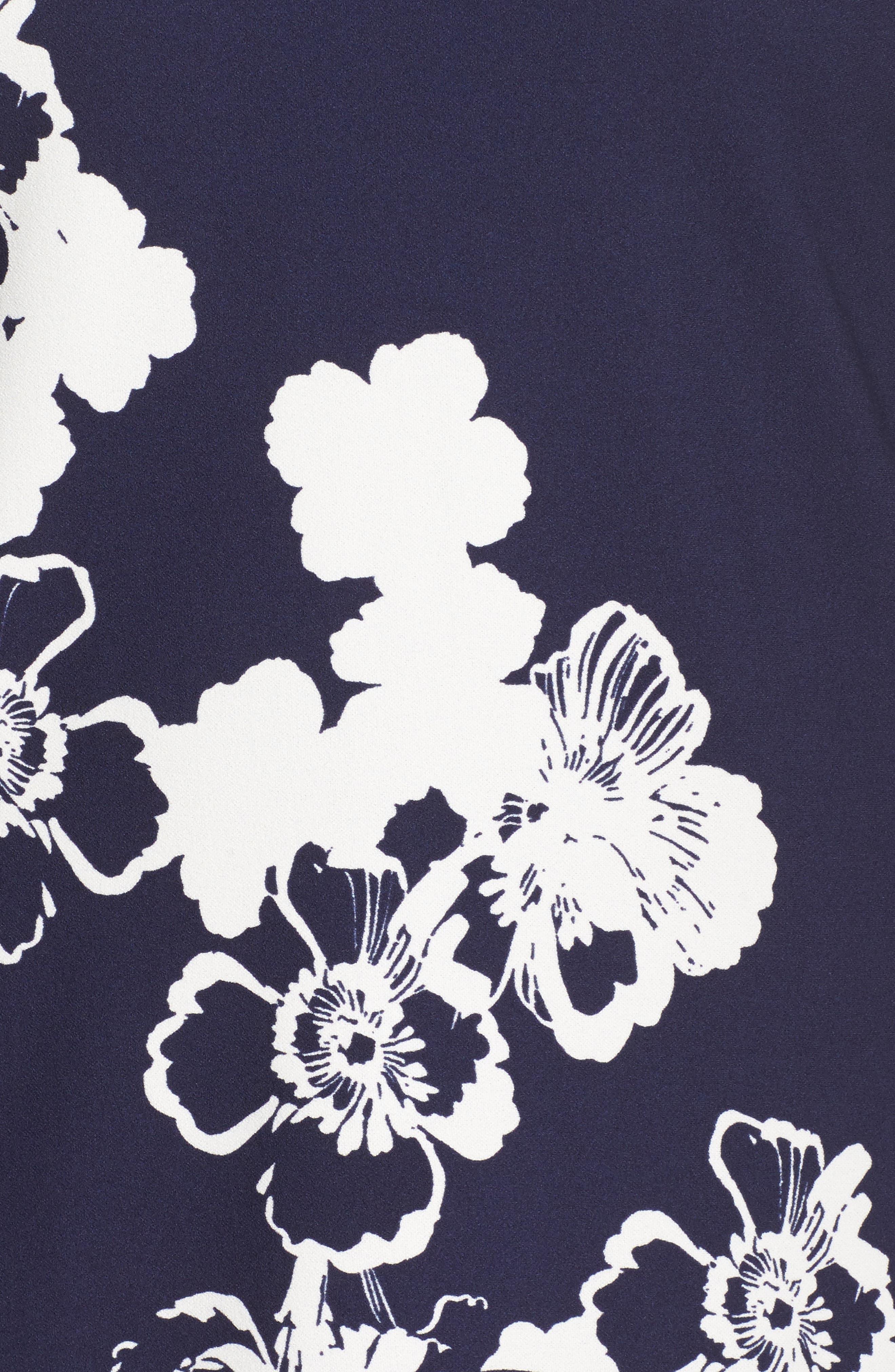 Cold Shoulder Floral Shift Dress,                             Alternate thumbnail 5, color,