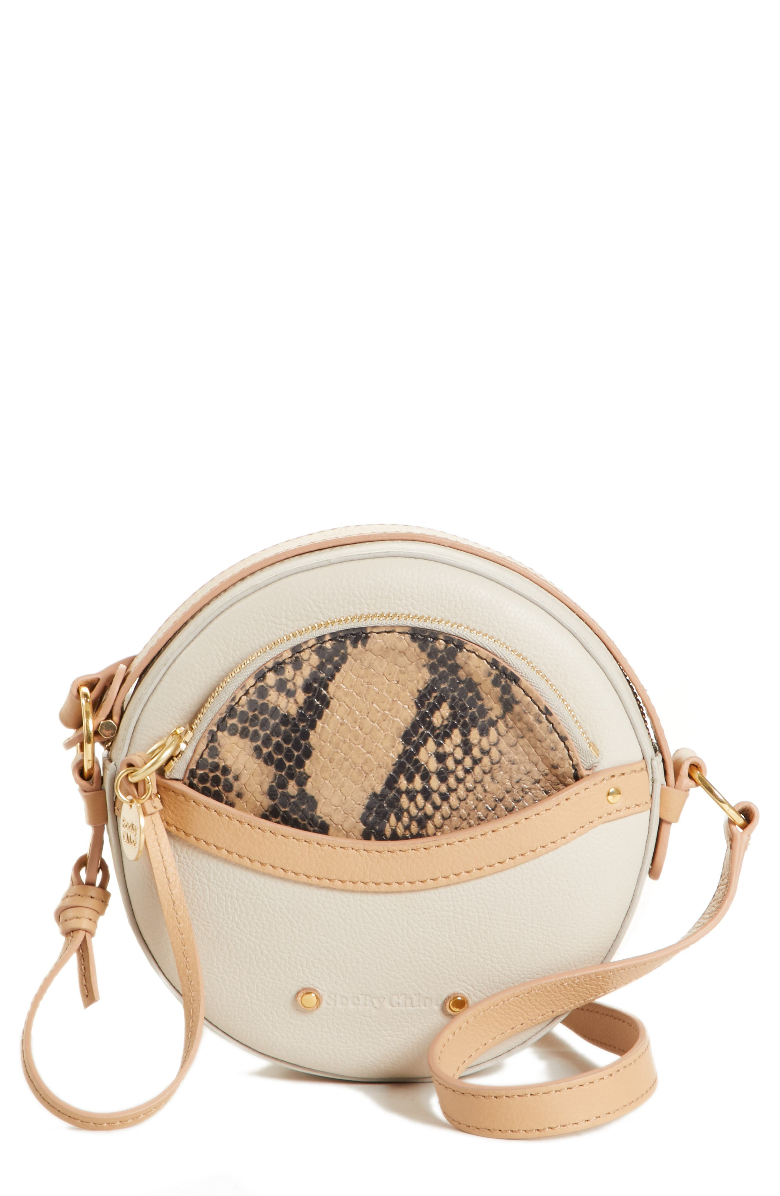 Rosy Mini Leather Crossbody Bag with Faux Snakeskin,                             Main thumbnail 1, color,                             CEMENT BEIGE