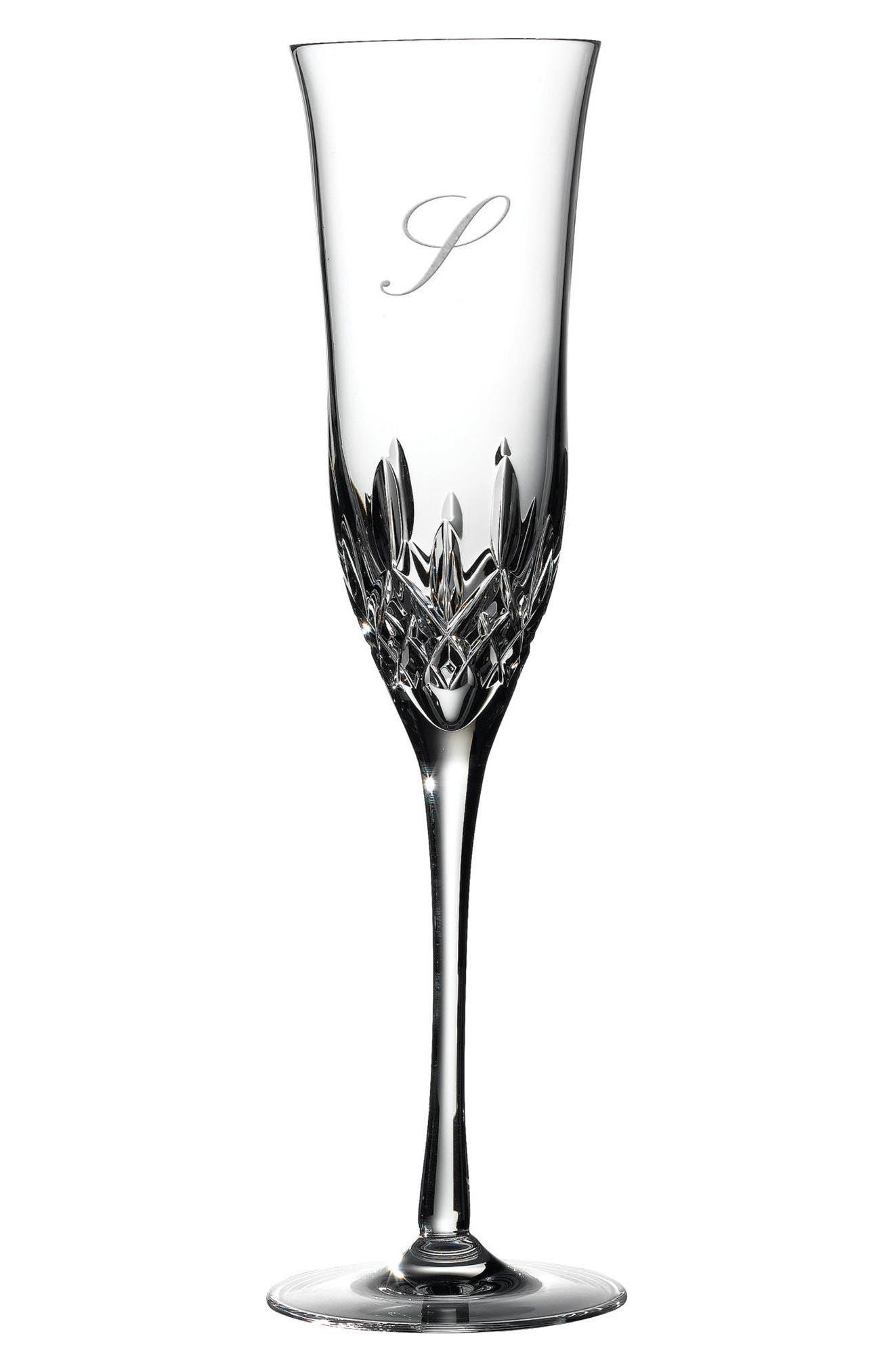 Lismore Essence Set of 2 Monogram Lead Crystal Champagne Flutes,                             Main thumbnail 2, color,