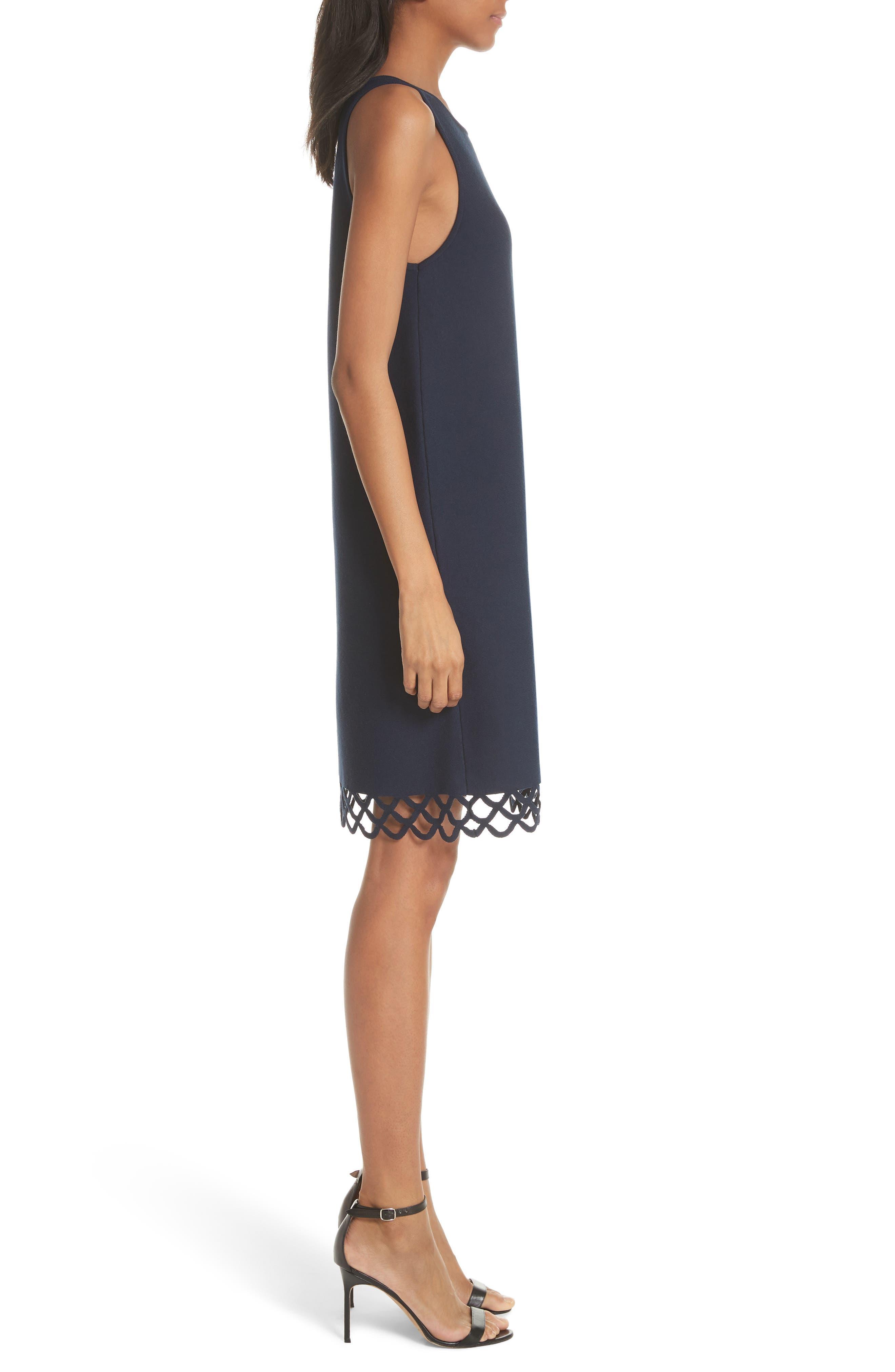 Scallop Hem Shift Dress,                             Alternate thumbnail 3, color,                             410