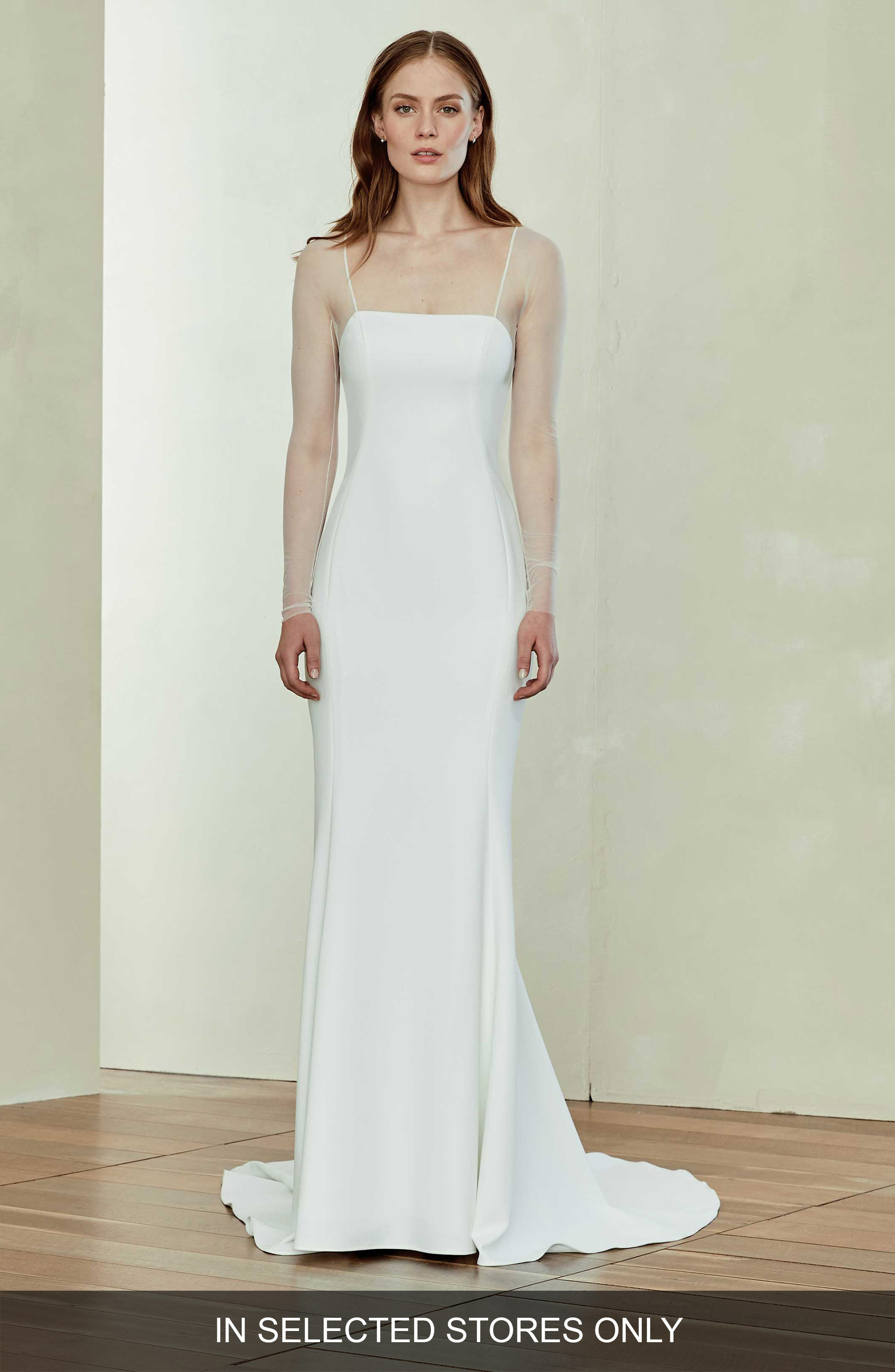 Illusion Sleeve Crepe Trumpet Gown,                             Main thumbnail 1, color,                             IVORY
