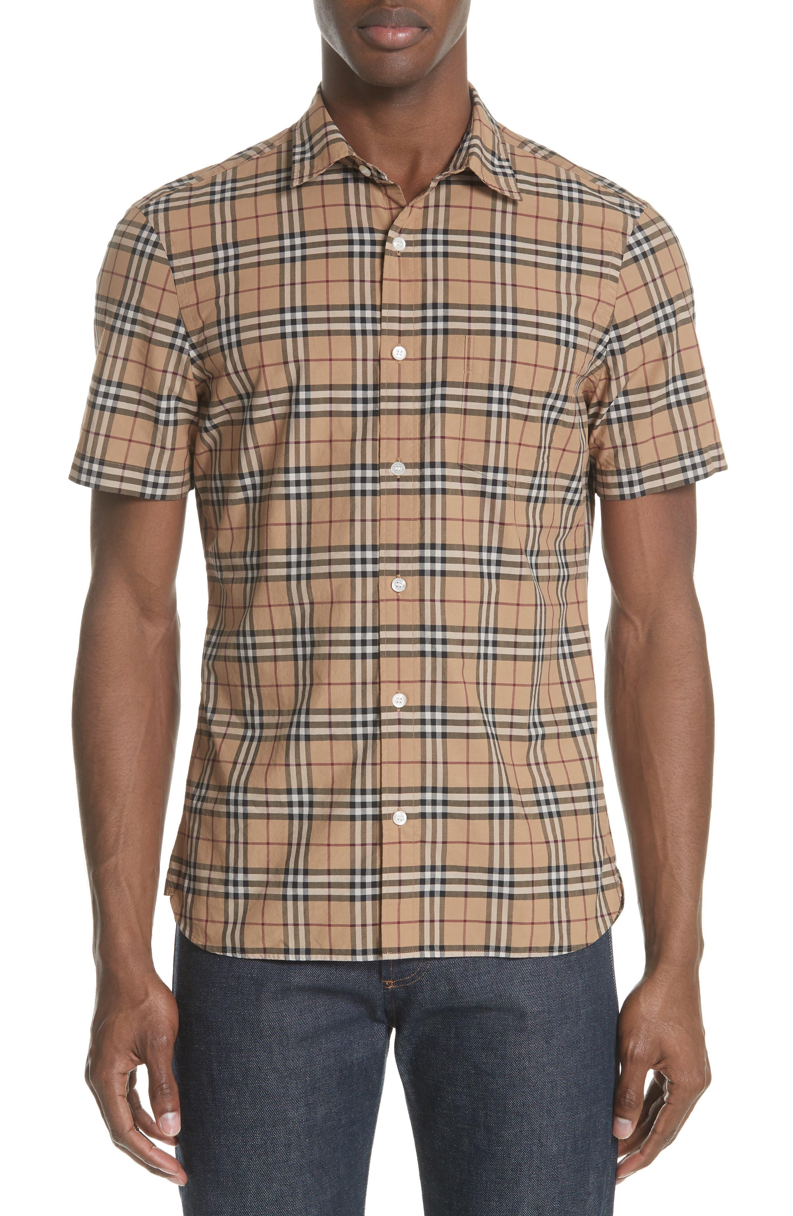 Alexander Check Sport Shirt,                         Main,                         color, CAMEL