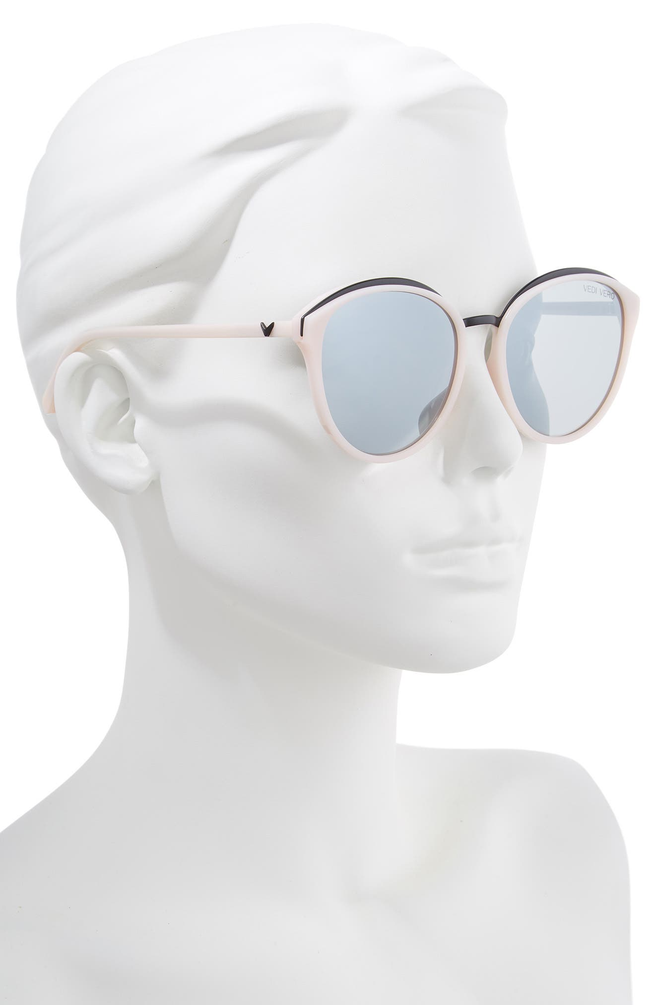 59mm Mirrored Round Cat Eye Sunglasses,                             Alternate thumbnail 2, color,                             PINK