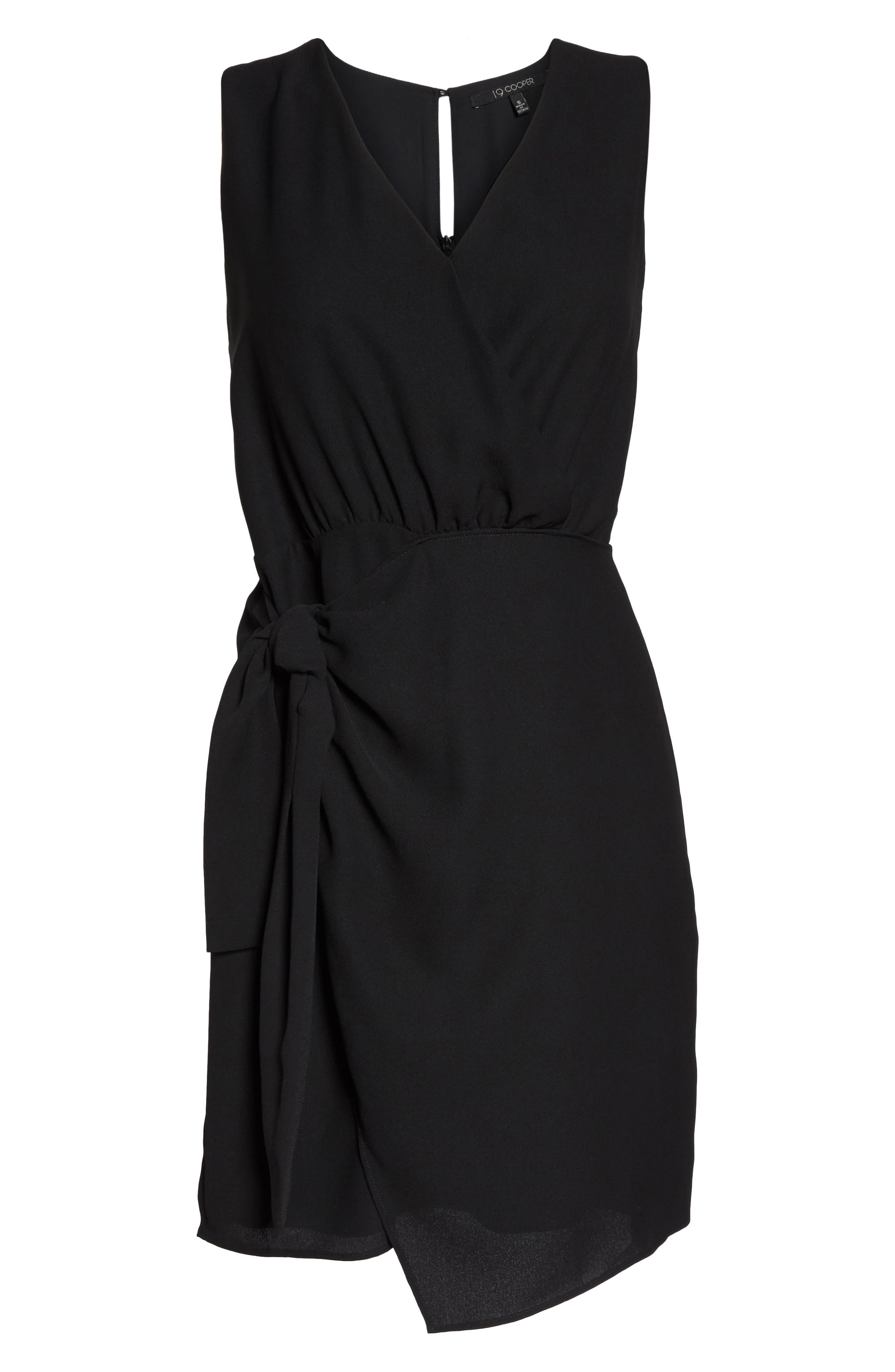 Faux Wrap Tie Dress,                             Alternate thumbnail 7, color,                             001