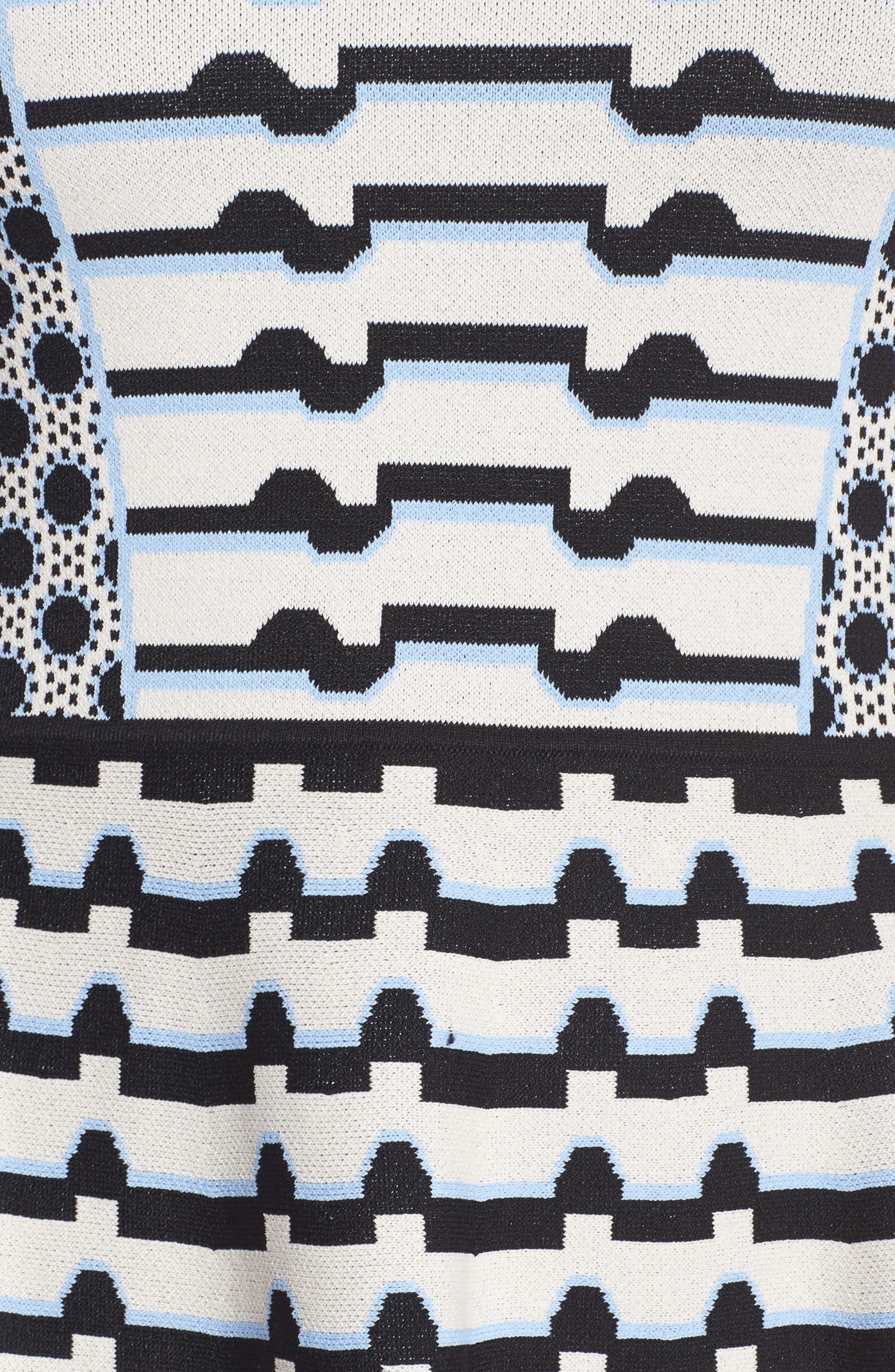 Stripe Knit Fit & Flare Dress,                             Alternate thumbnail 5, color,                             302