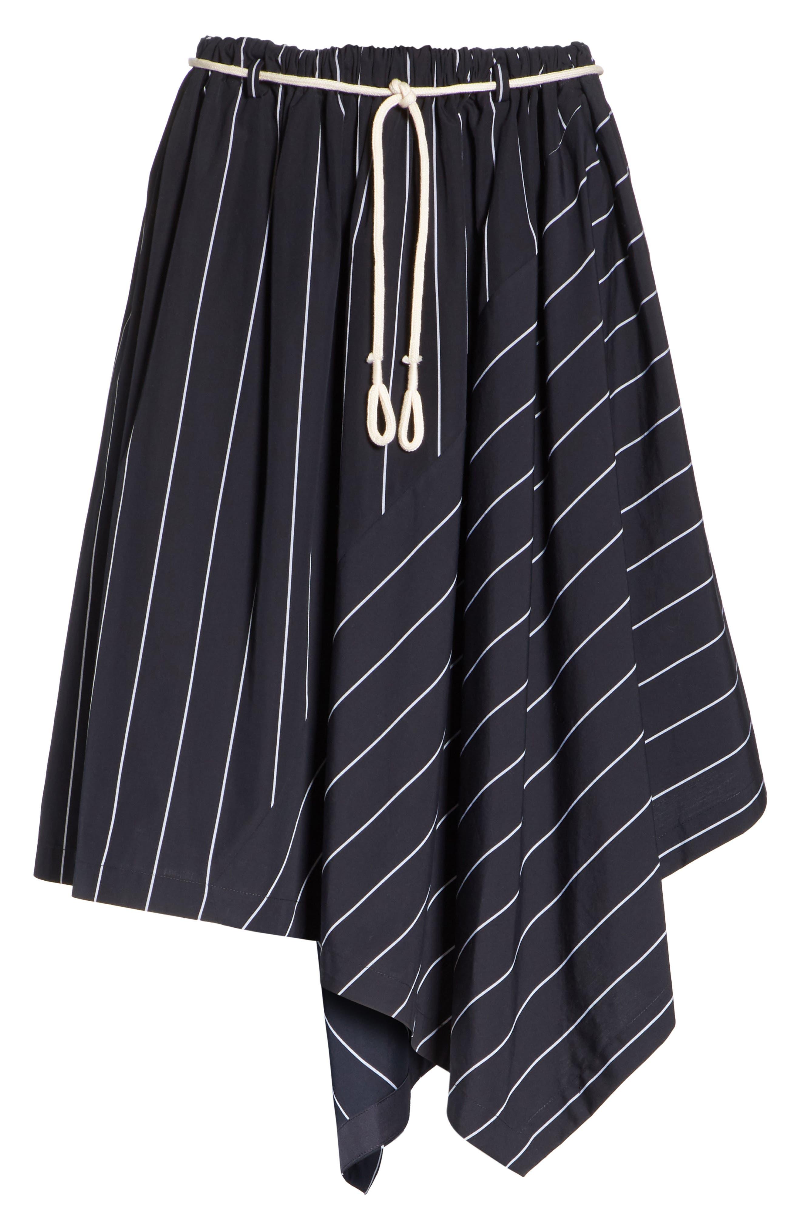 Skinny Stripe Asymmetrical Cotton Skirt,                             Alternate thumbnail 6, color,                             435