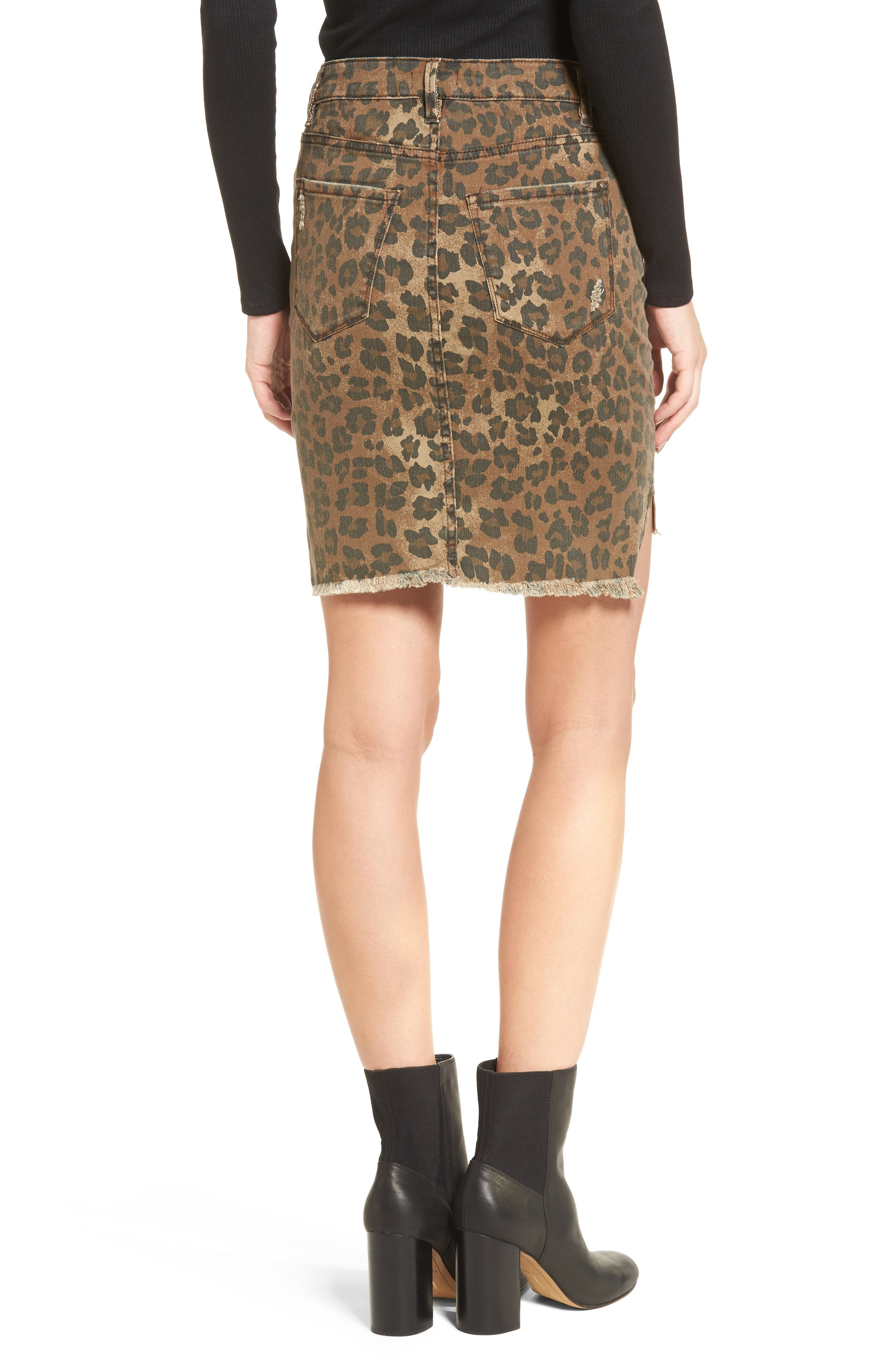 Bella Distressed Denim Skirt,                             Alternate thumbnail 2, color,                             001