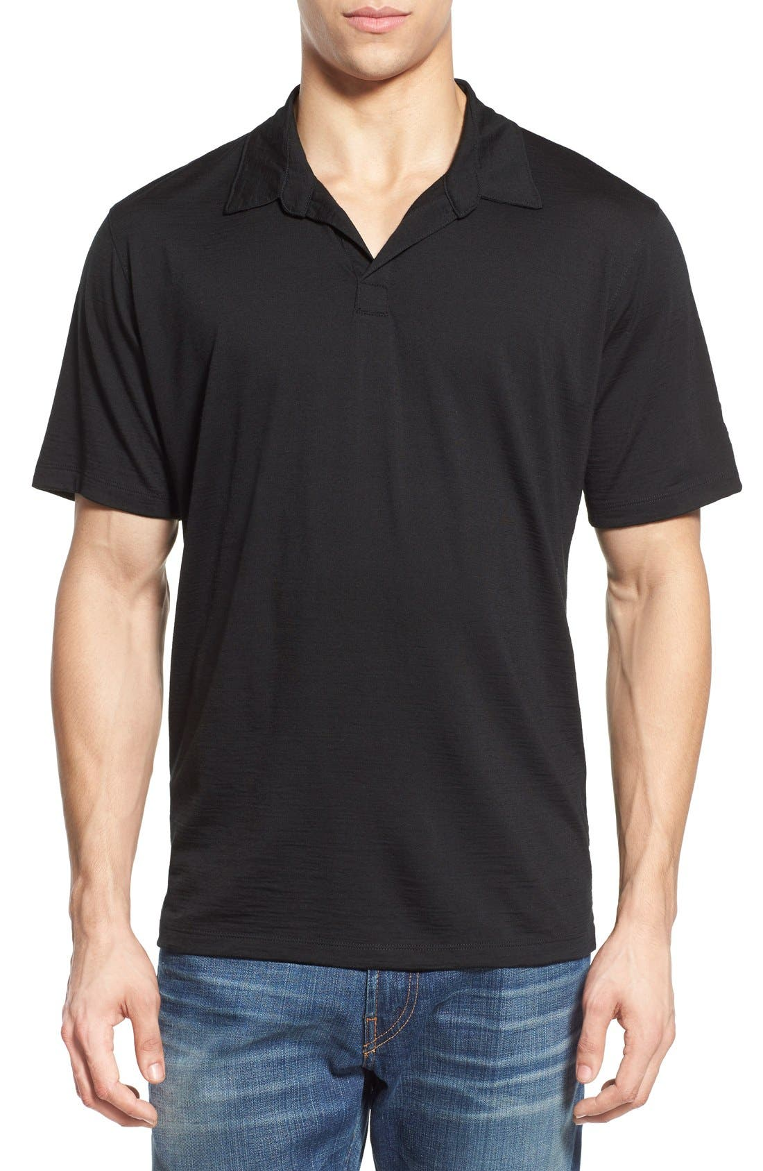 'Cirrus' Merino Wool Jersey Polo,                             Main thumbnail 1, color,                             001