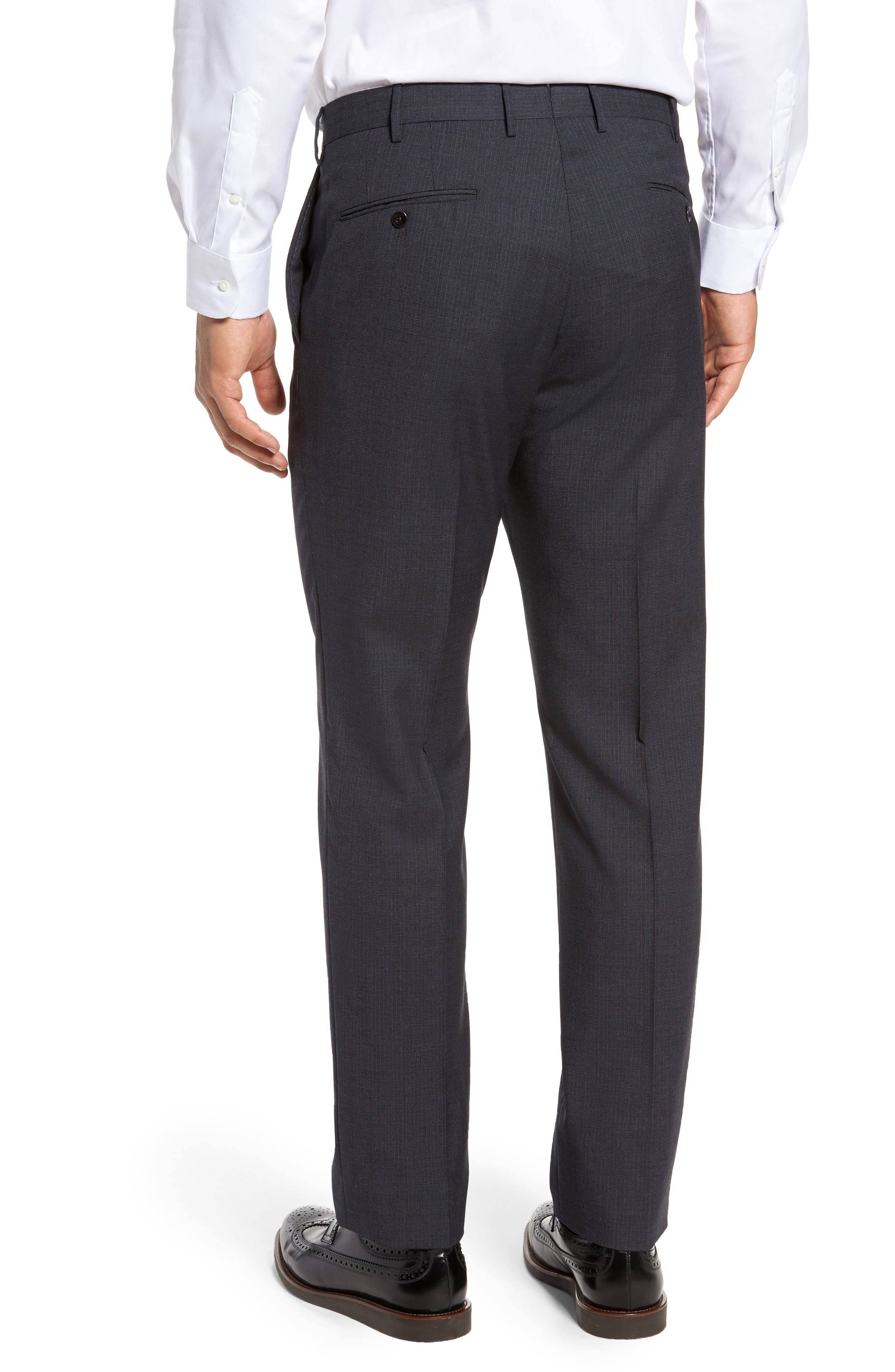 Benson Flat Front Wool Trousers,                             Alternate thumbnail 3, color,                             015