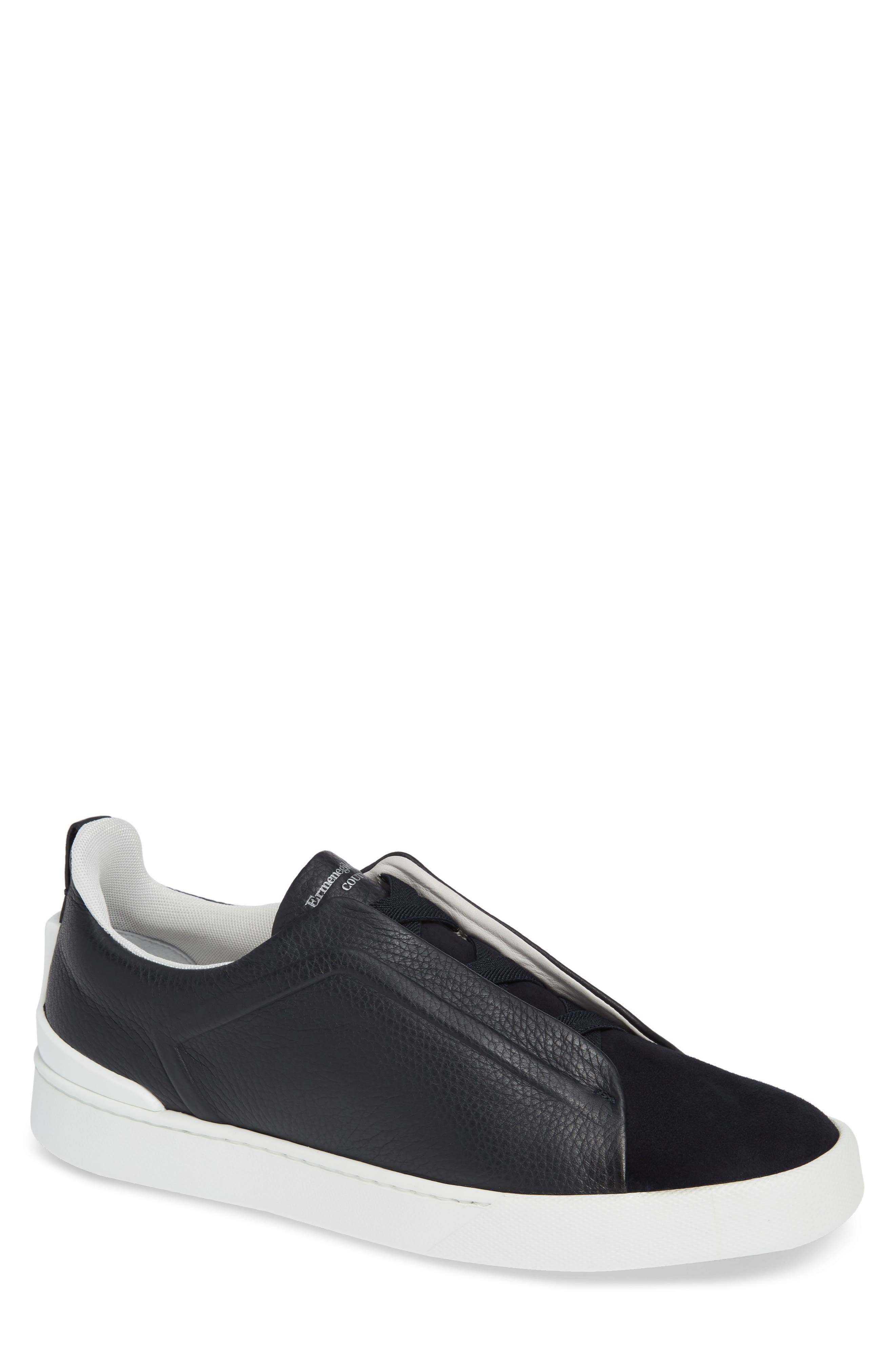 ERMENEGILDO ZEGNA Men'S Couture Triple-Stitch Leather & Suede Low-Top Sneakers, Navy in Navy/ Navy