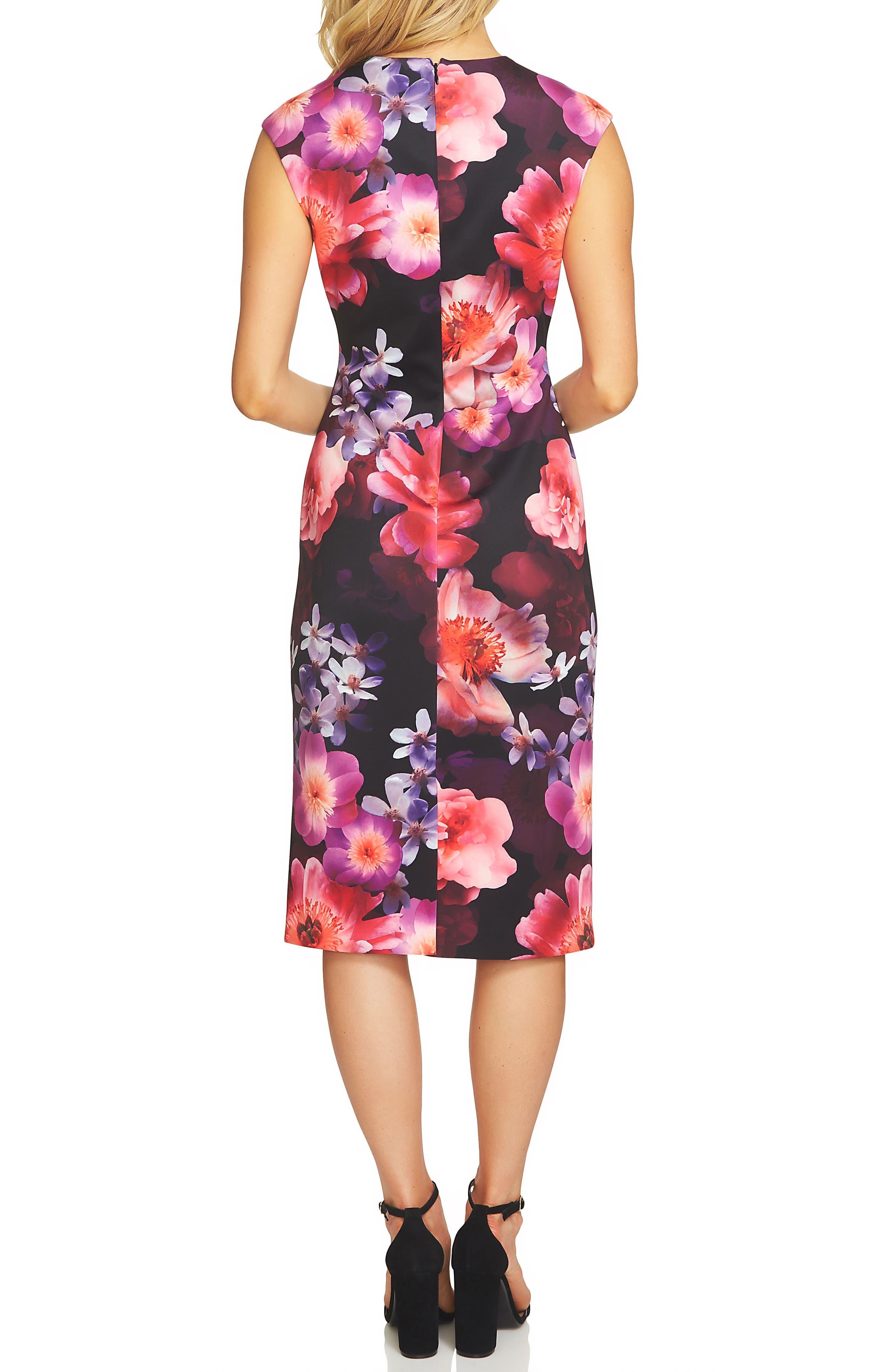 Floral Scuba Sheath Dress,                             Alternate thumbnail 2, color,