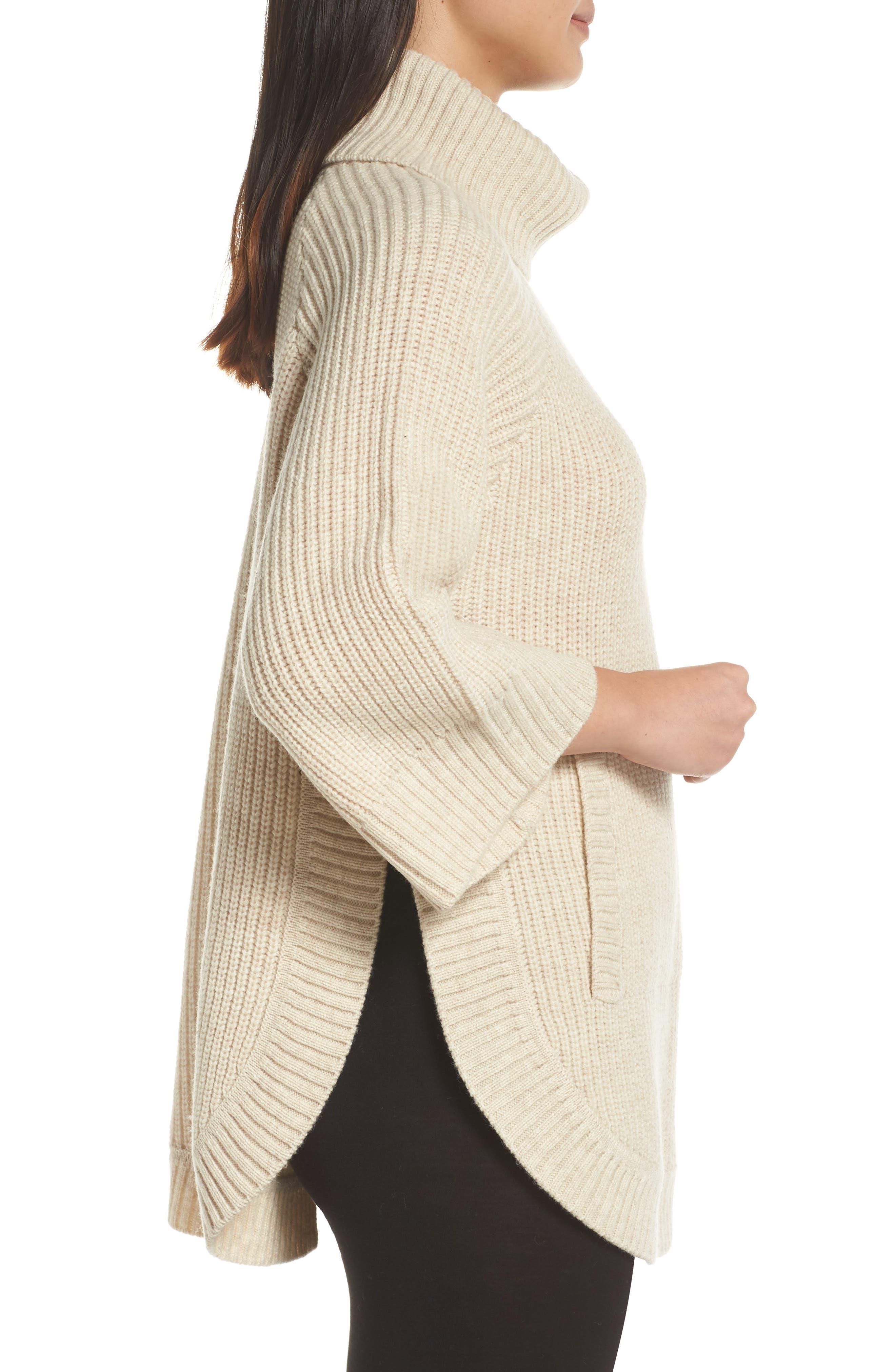 Raelynn Sweater Poncho,                             Alternate thumbnail 3, color,                             CREAM HEATHER