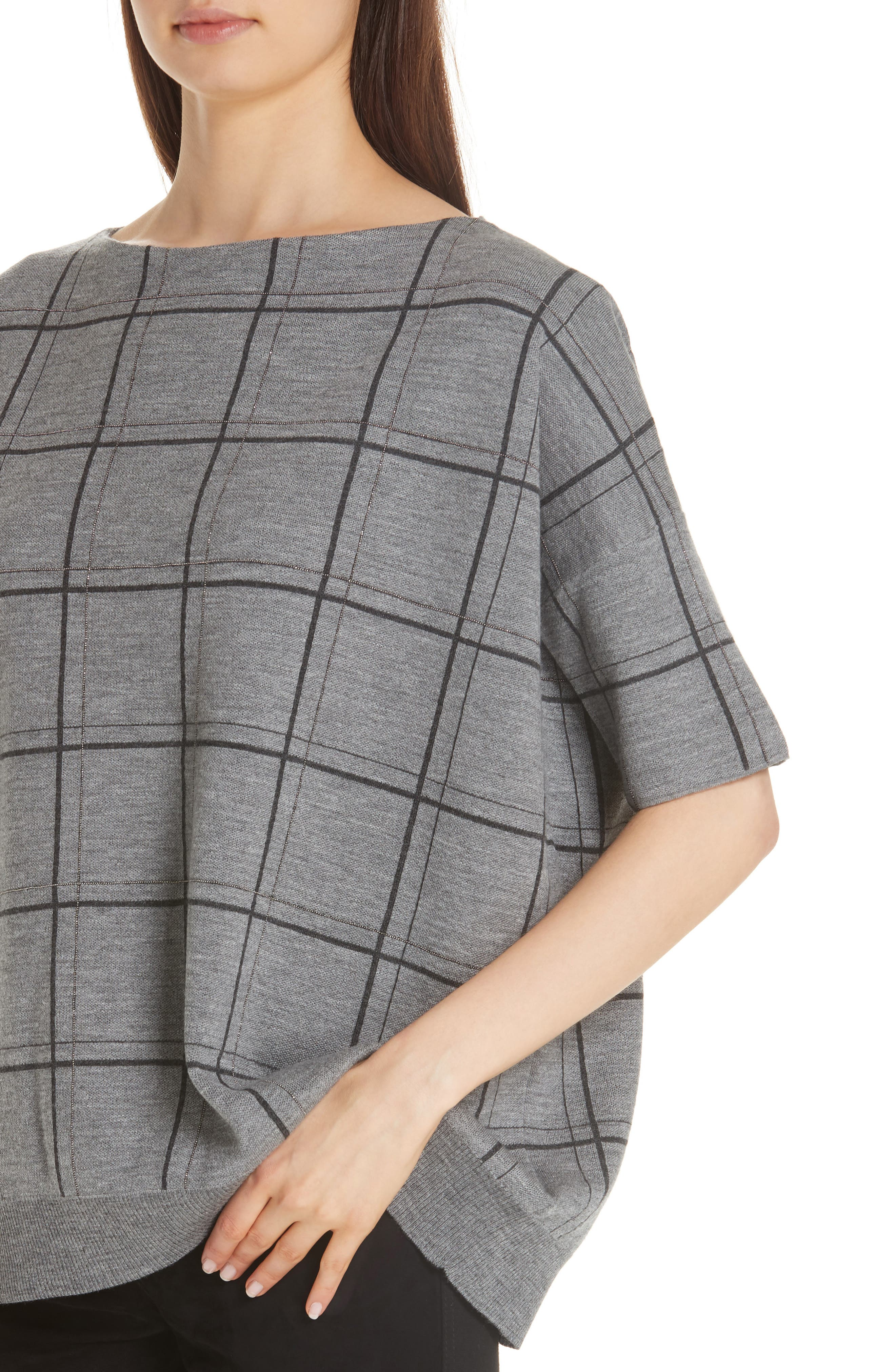 LAFAYETTE 148 NEW YORK,                             Chain Embellished Oversize Jacquard Sweater,                             Alternate thumbnail 4, color,                             056