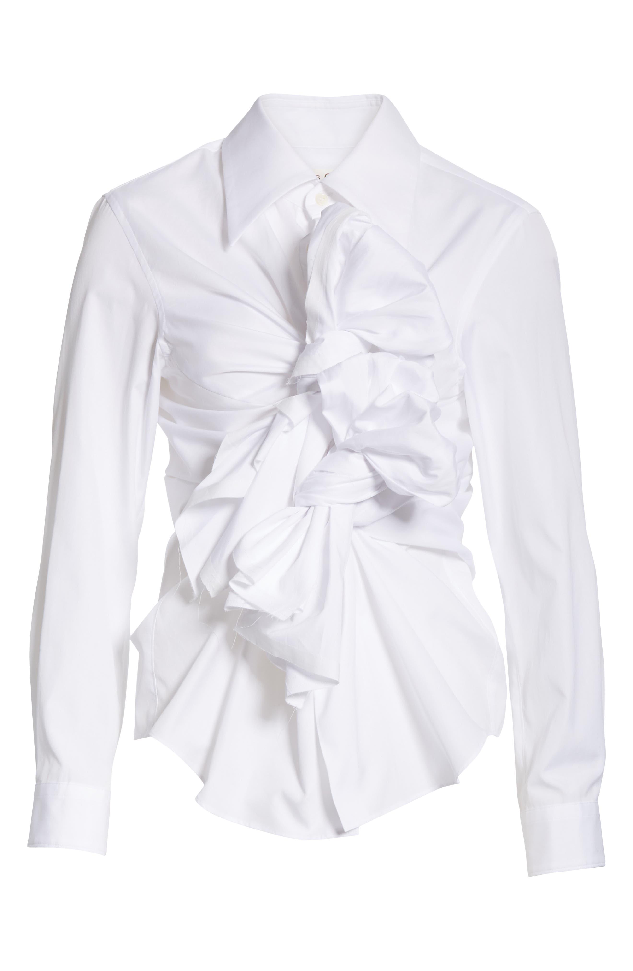 COMME DES GARÇONS,                             Tie Front Shirt,                             Alternate thumbnail 6, color,                             WHITE