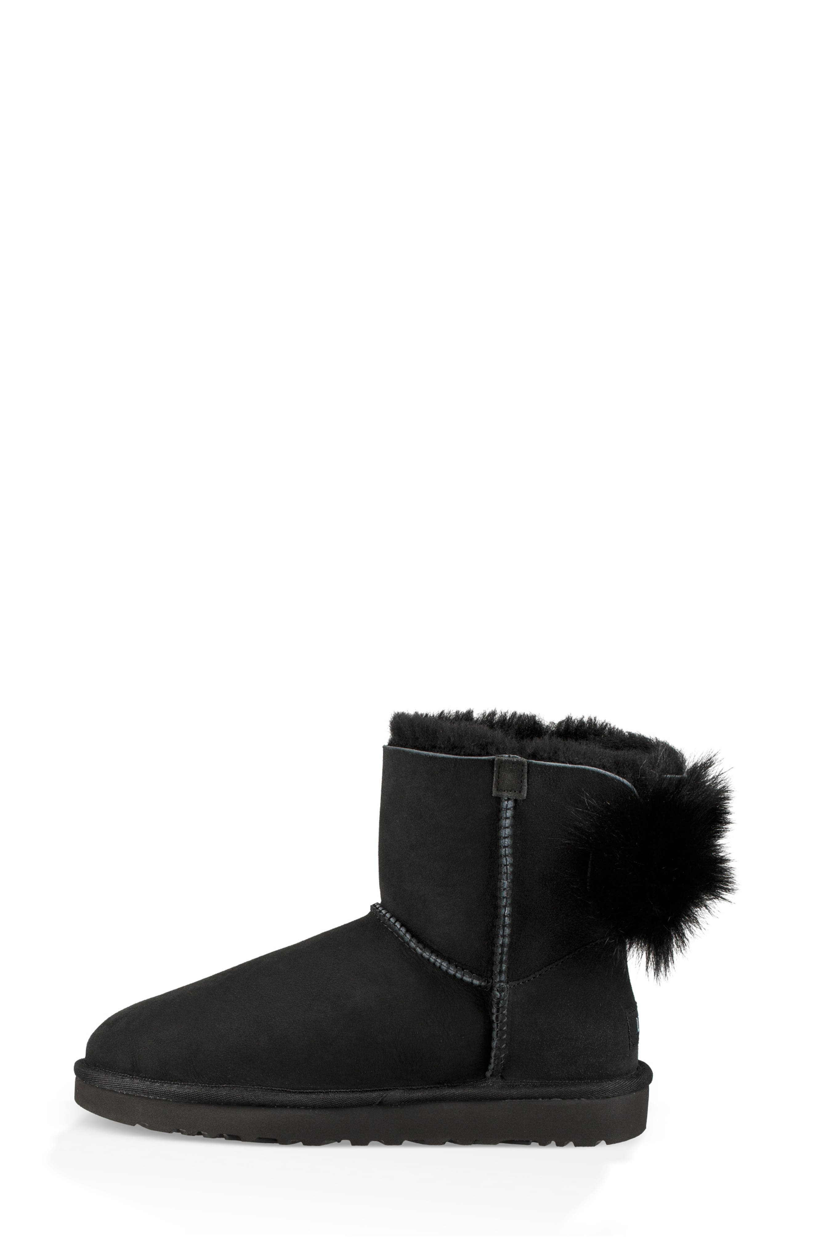 Mini Fluff Bow Genuine Shearling Boot,                             Alternate thumbnail 6, color,                             BLACK SUEDE