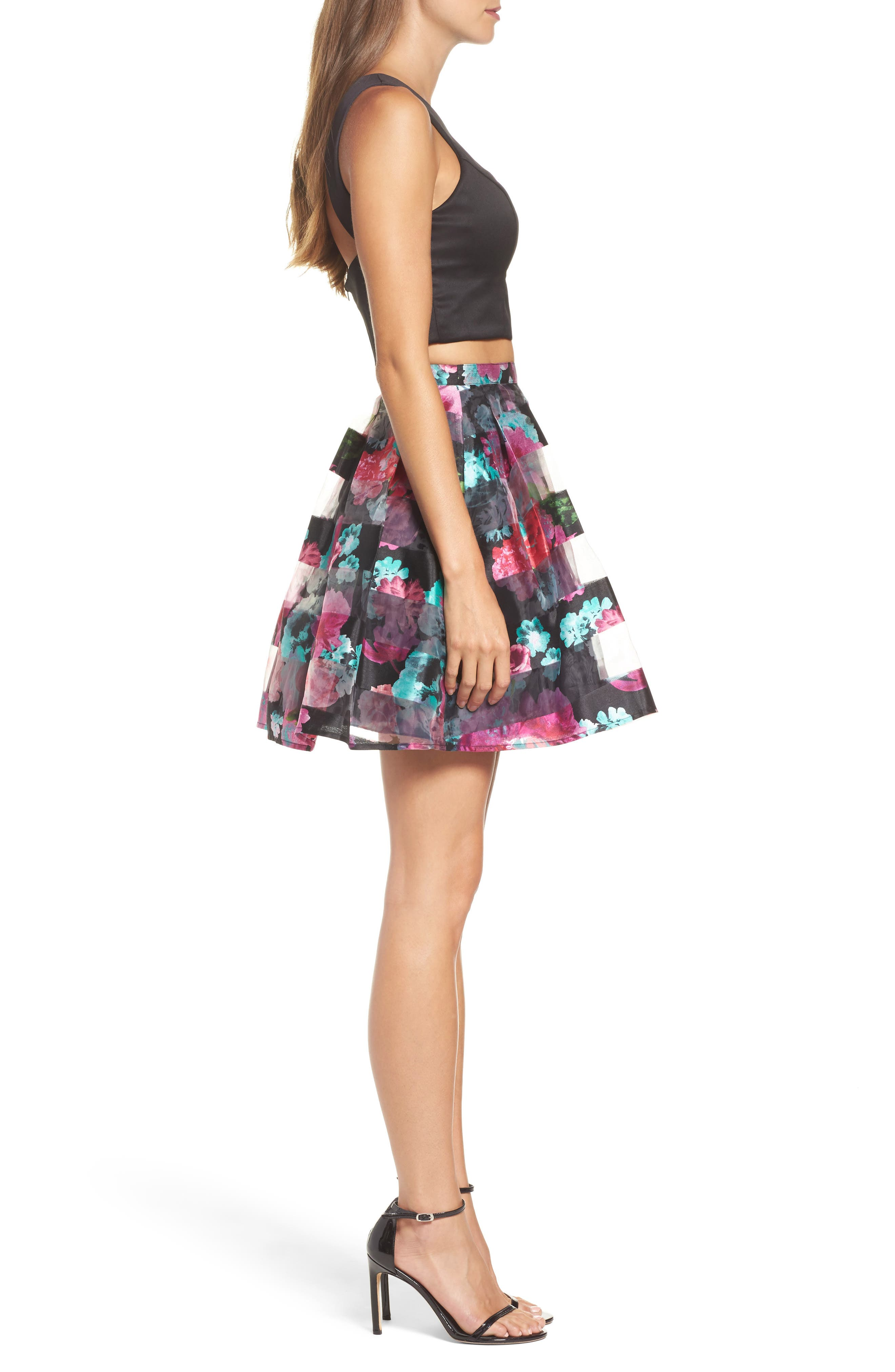 Printed Shadow Skirt Two-Piece Fit & Flare Dress,                             Alternate thumbnail 3, color,                             005
