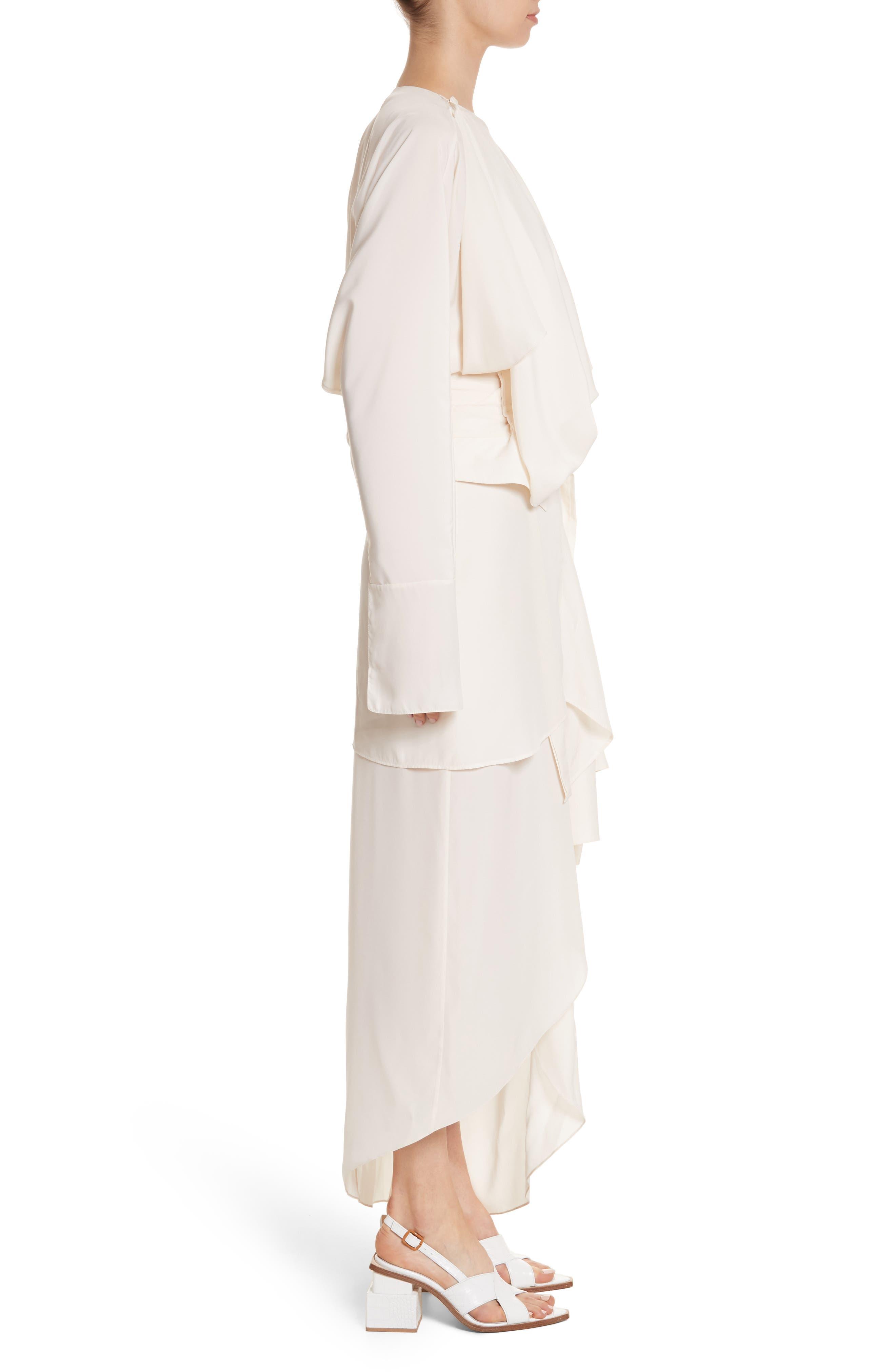 Asymmetrical Draped Dress,                             Alternate thumbnail 3, color,                             900