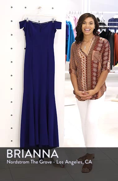 Notched Off the Shoulder Trumpet Gown, sales video thumbnail