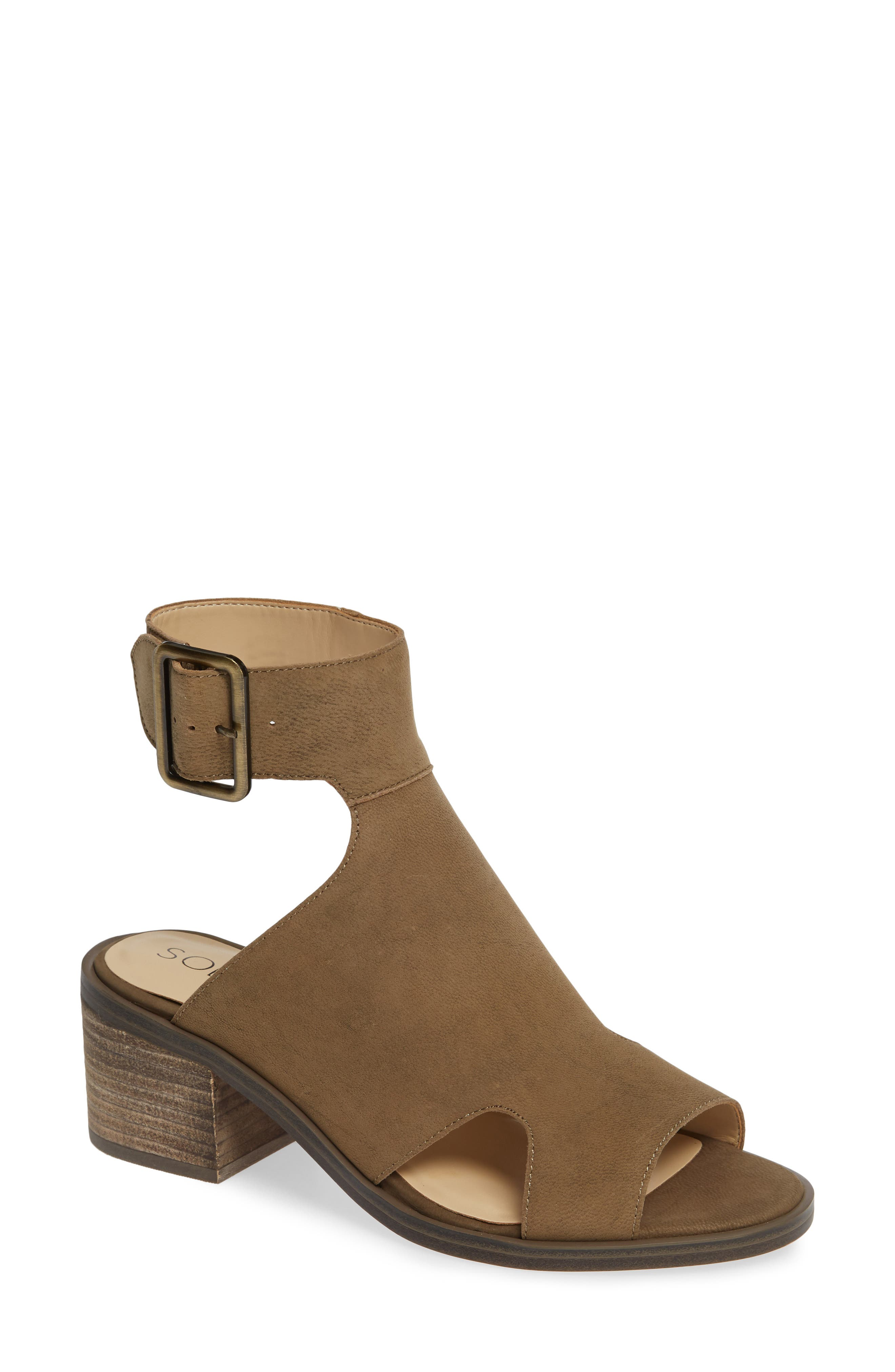 Tally Ankle Cuff Sandal,                         Main,                         color, ANTIQUE GREEN NUBUCK