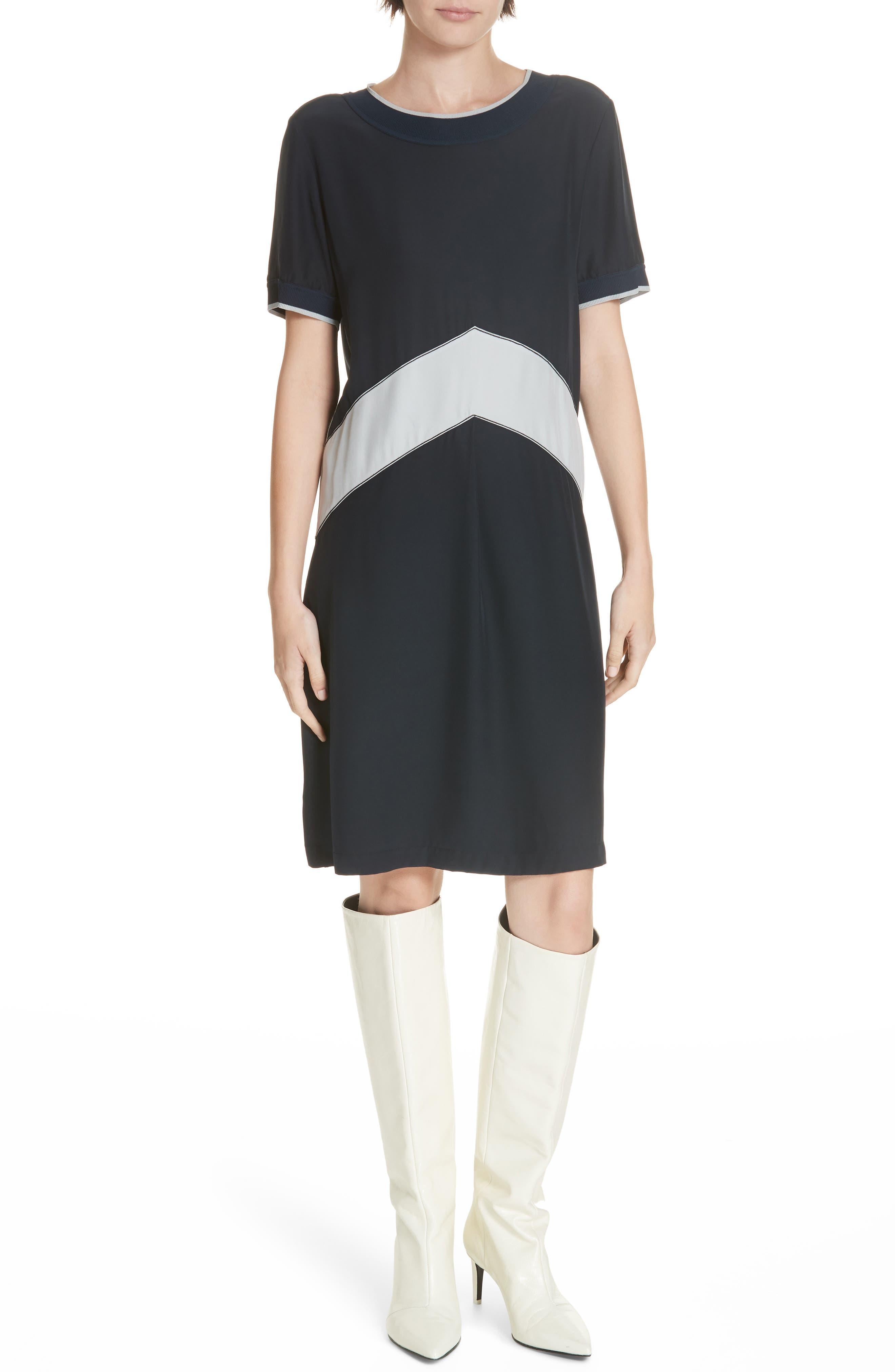 Rag & Bone Hannah Chevron Stripe Silk Shift Dress