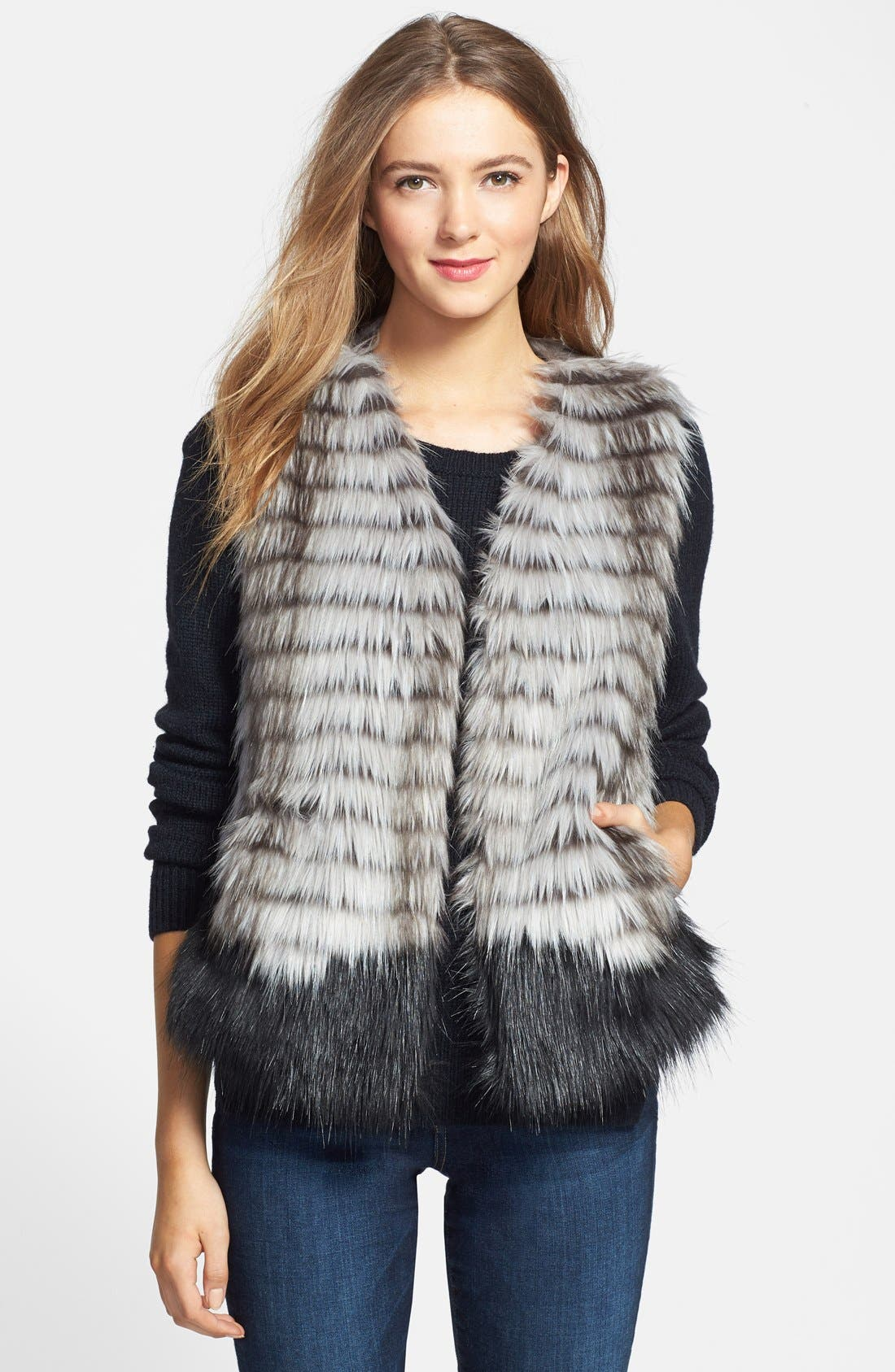 Two-Tone Faux Fur Vest, Main, color, 001