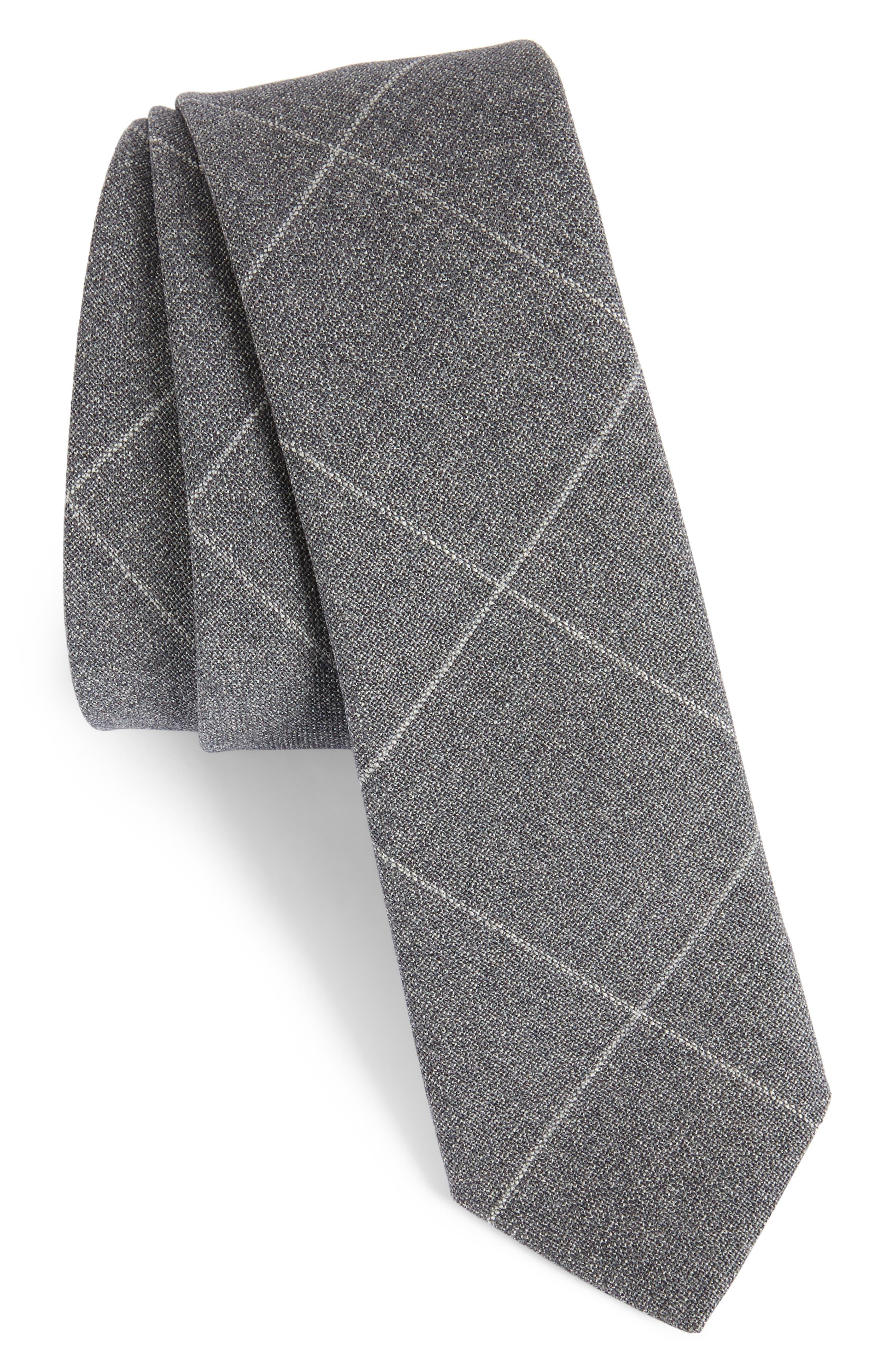 Tattersall Wool Skinny Tie,                             Main thumbnail 1, color,                             GREY