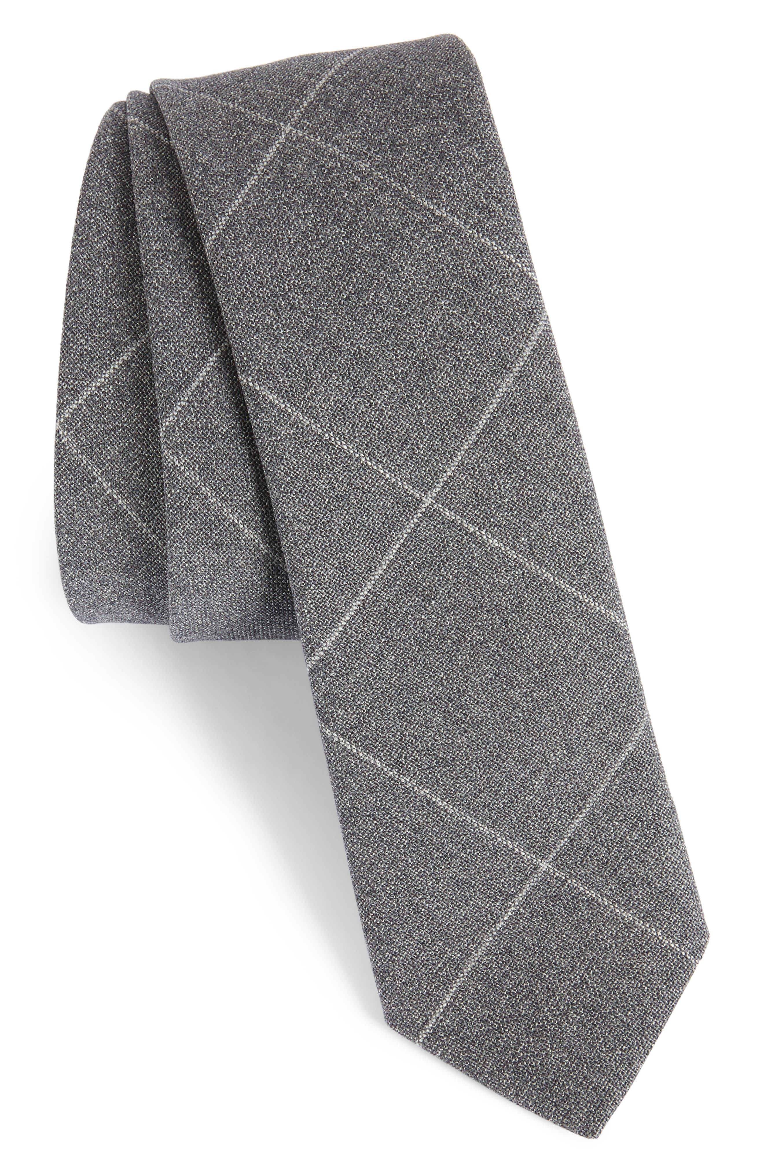Tattersall Wool Skinny Tie,                         Main,                         color, GREY
