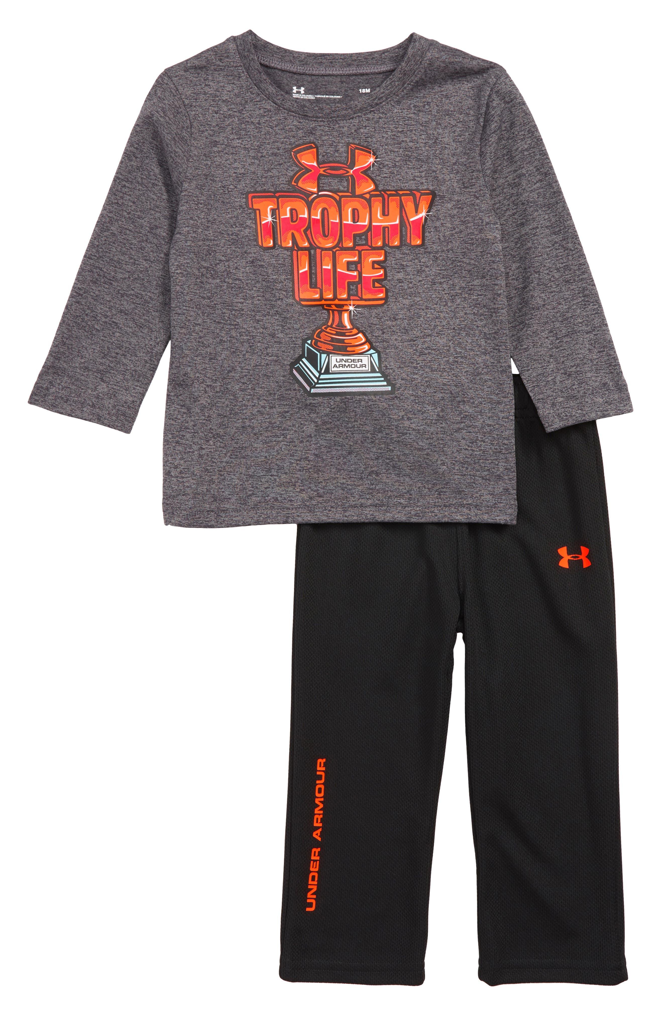 Trophy T-Shirt and Pants Set,                             Main thumbnail 1, color,                             CARBON HEATHER